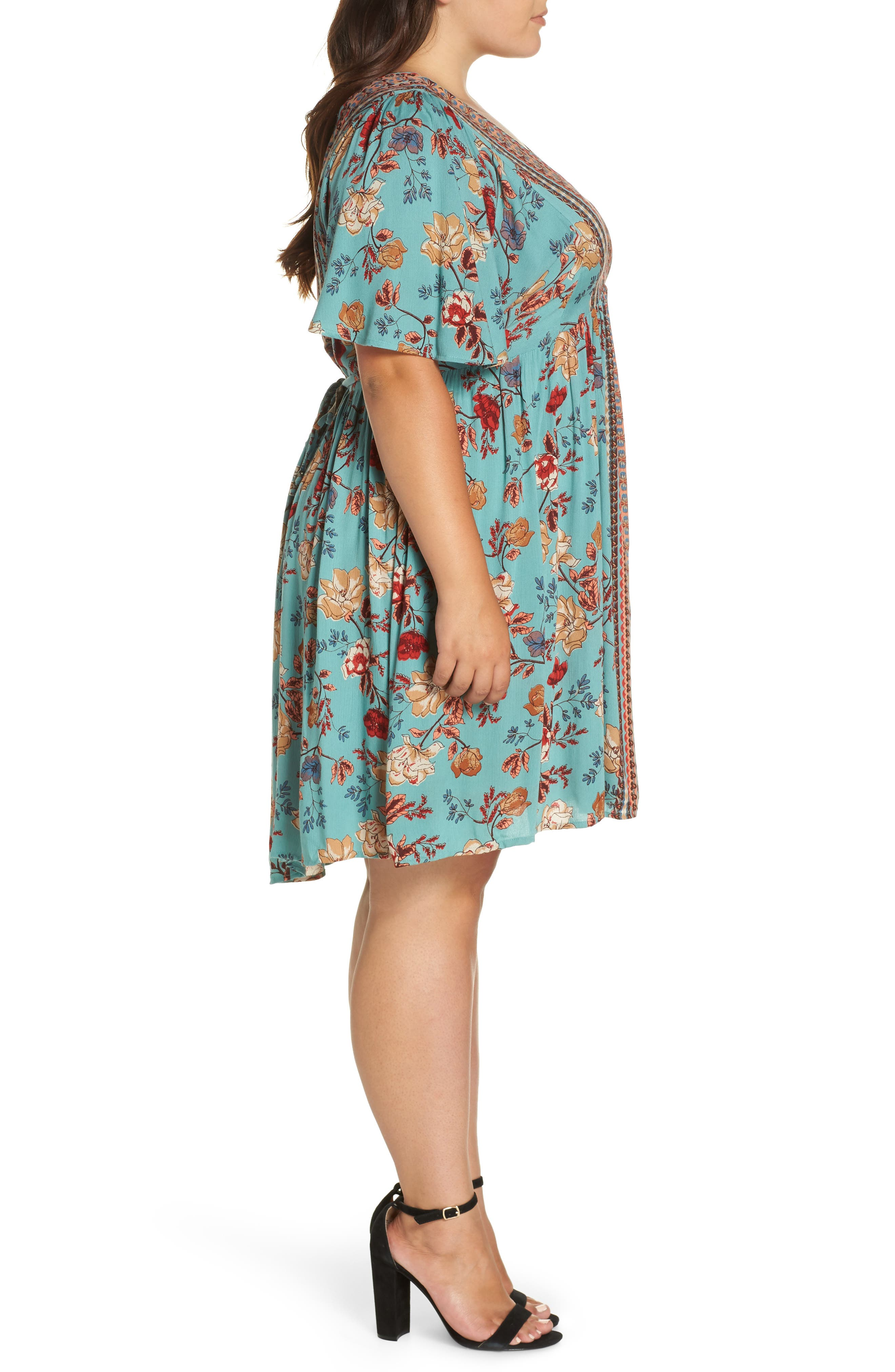 Floral Swing Dress,                             Alternate thumbnail 3, color,                             GREEN