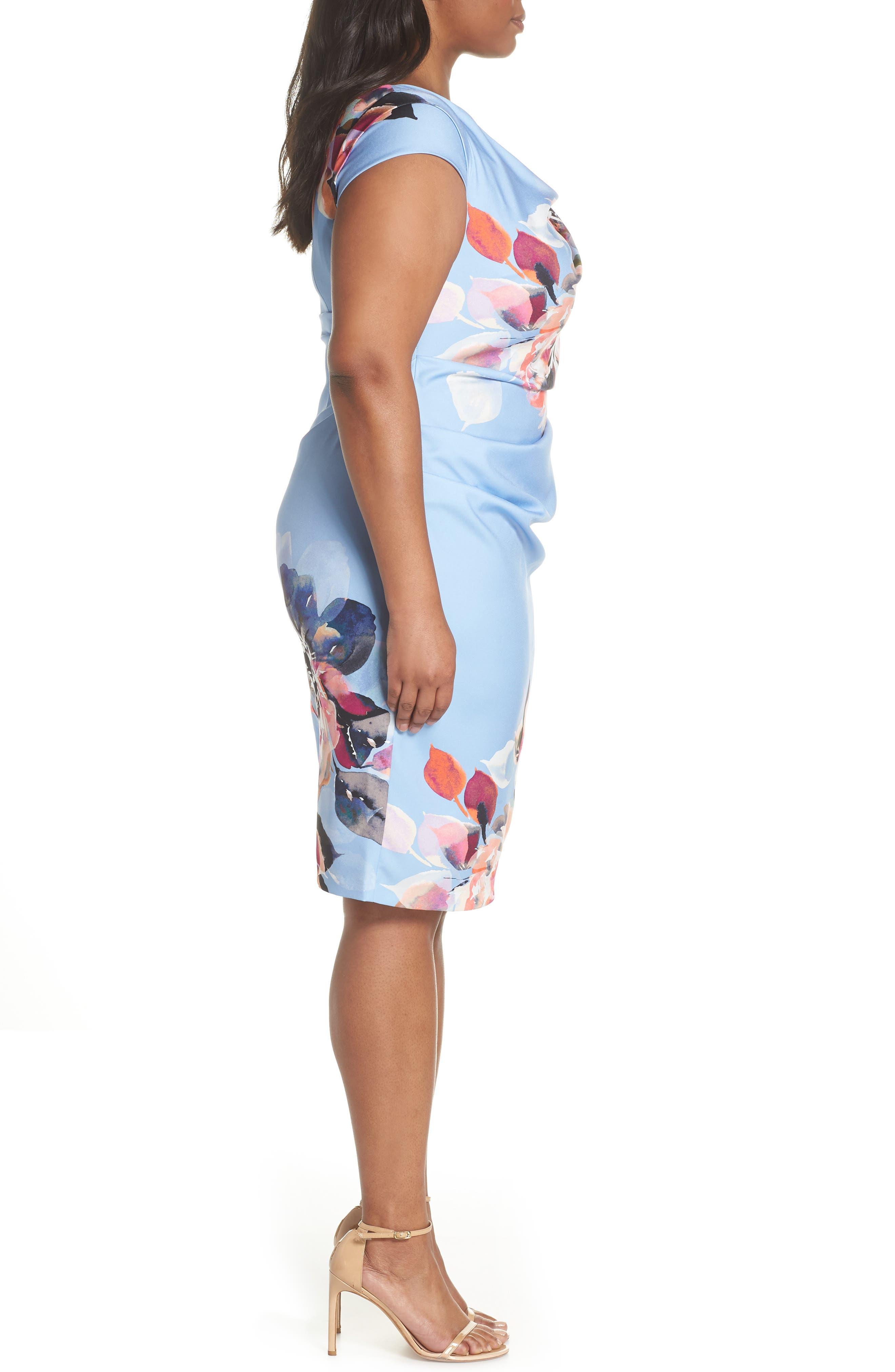 Magnolia Drape Front Sheath Dress,                             Alternate thumbnail 3, color,                             461
