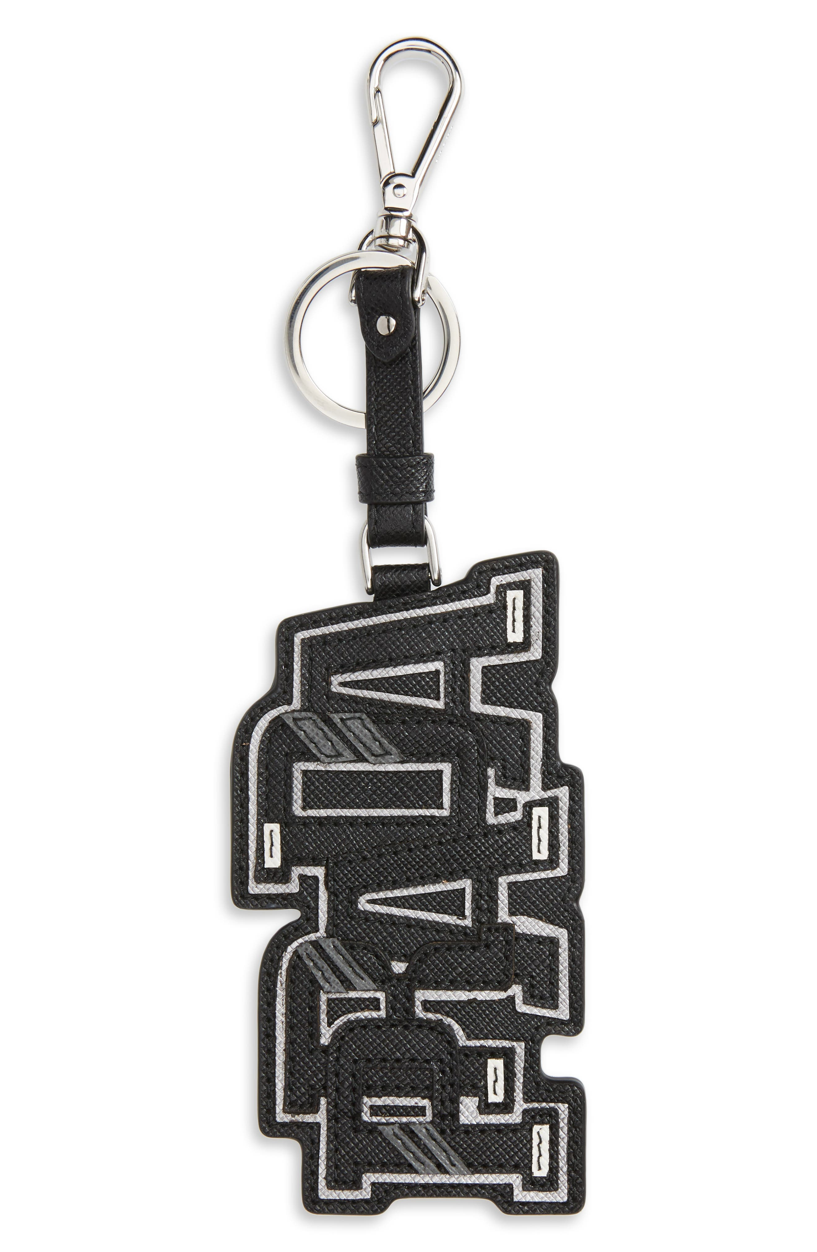 Saffiano Leather Character Key Chain,                             Main thumbnail 1, color,                             001