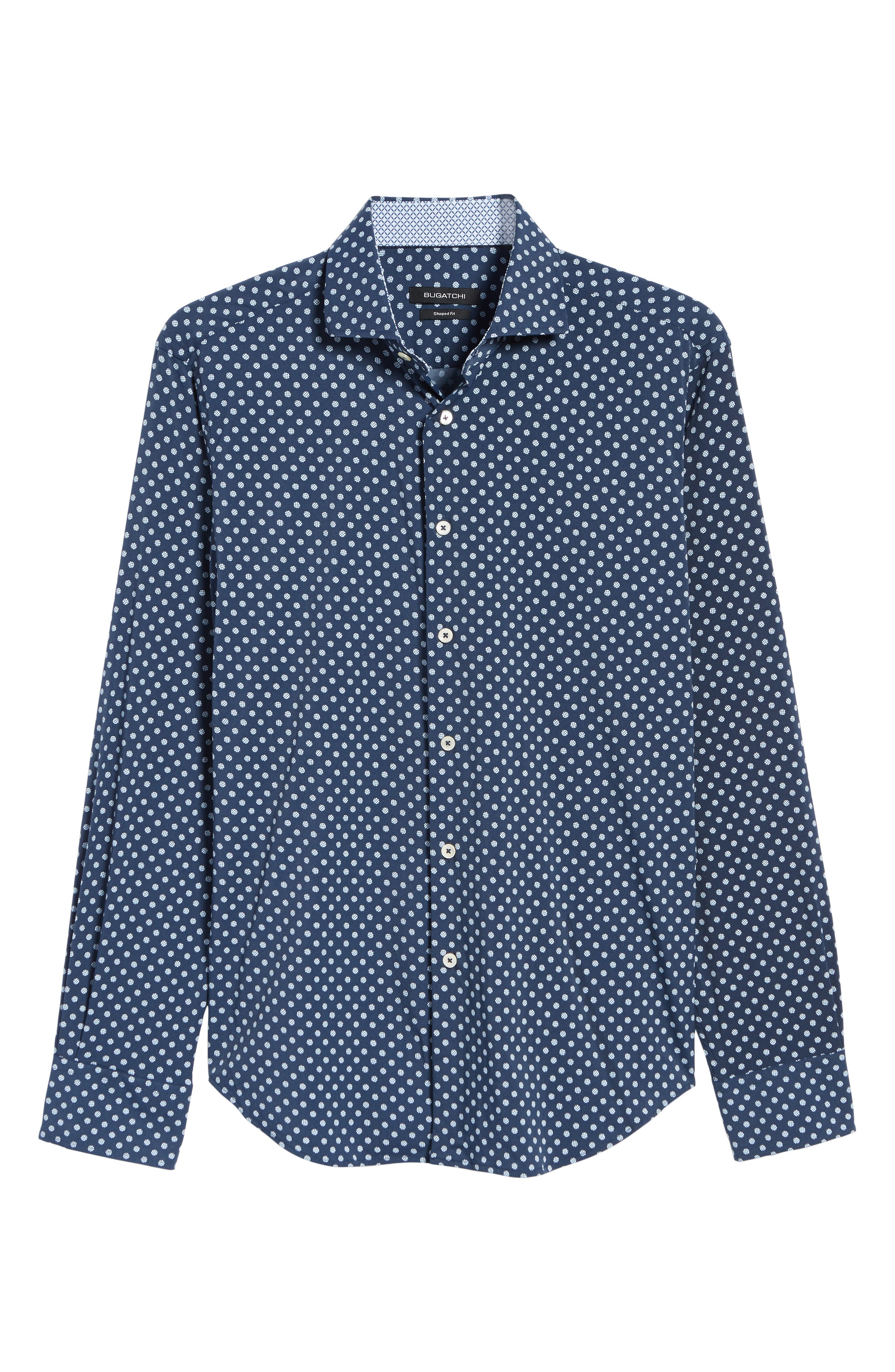 Shaped Fit Print Sport Shirt,                             Alternate thumbnail 5, color,                             NAVY