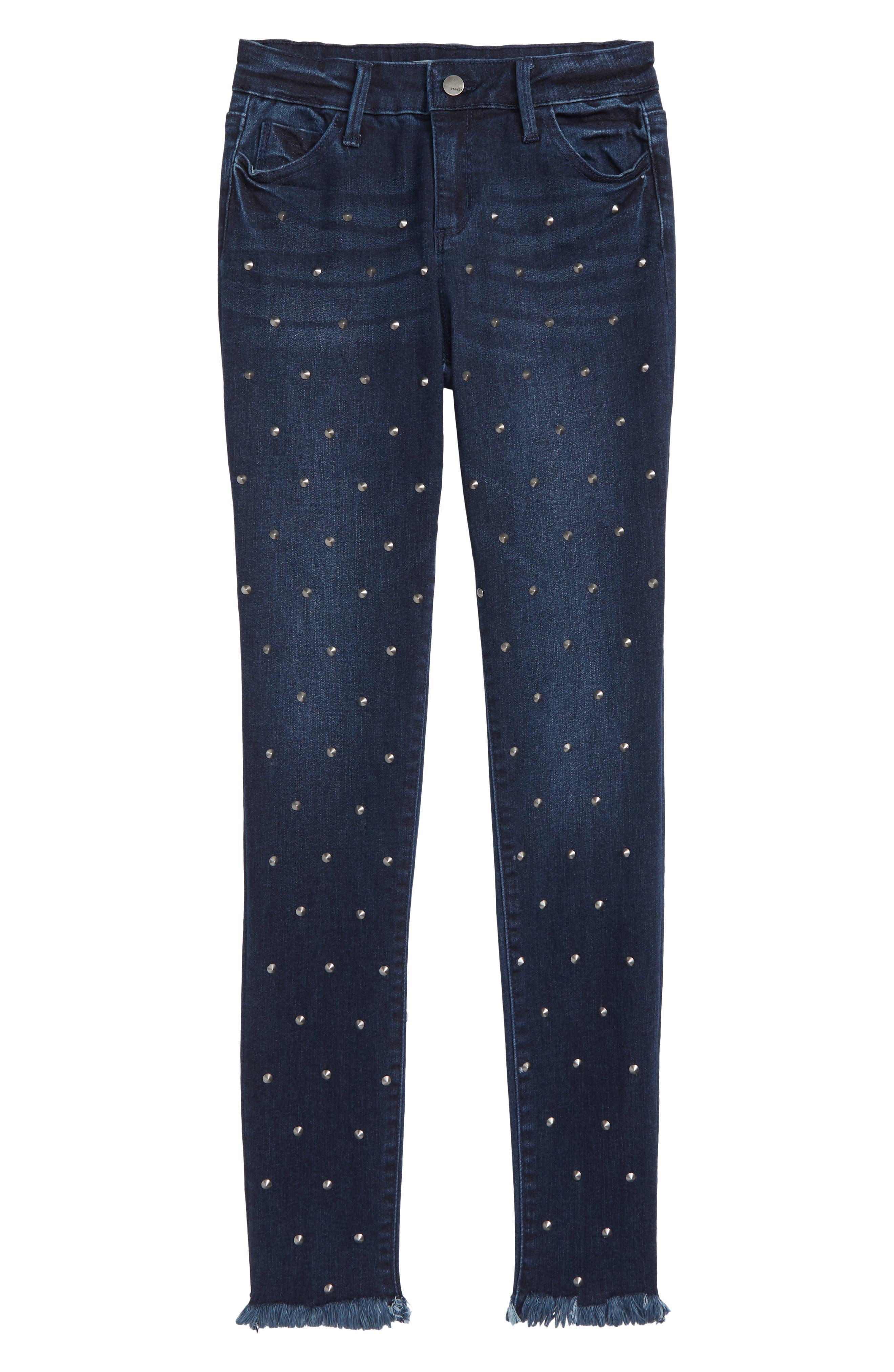 Studded Fray Hem Skinny Jeans,                         Main,                         color, INDIGO