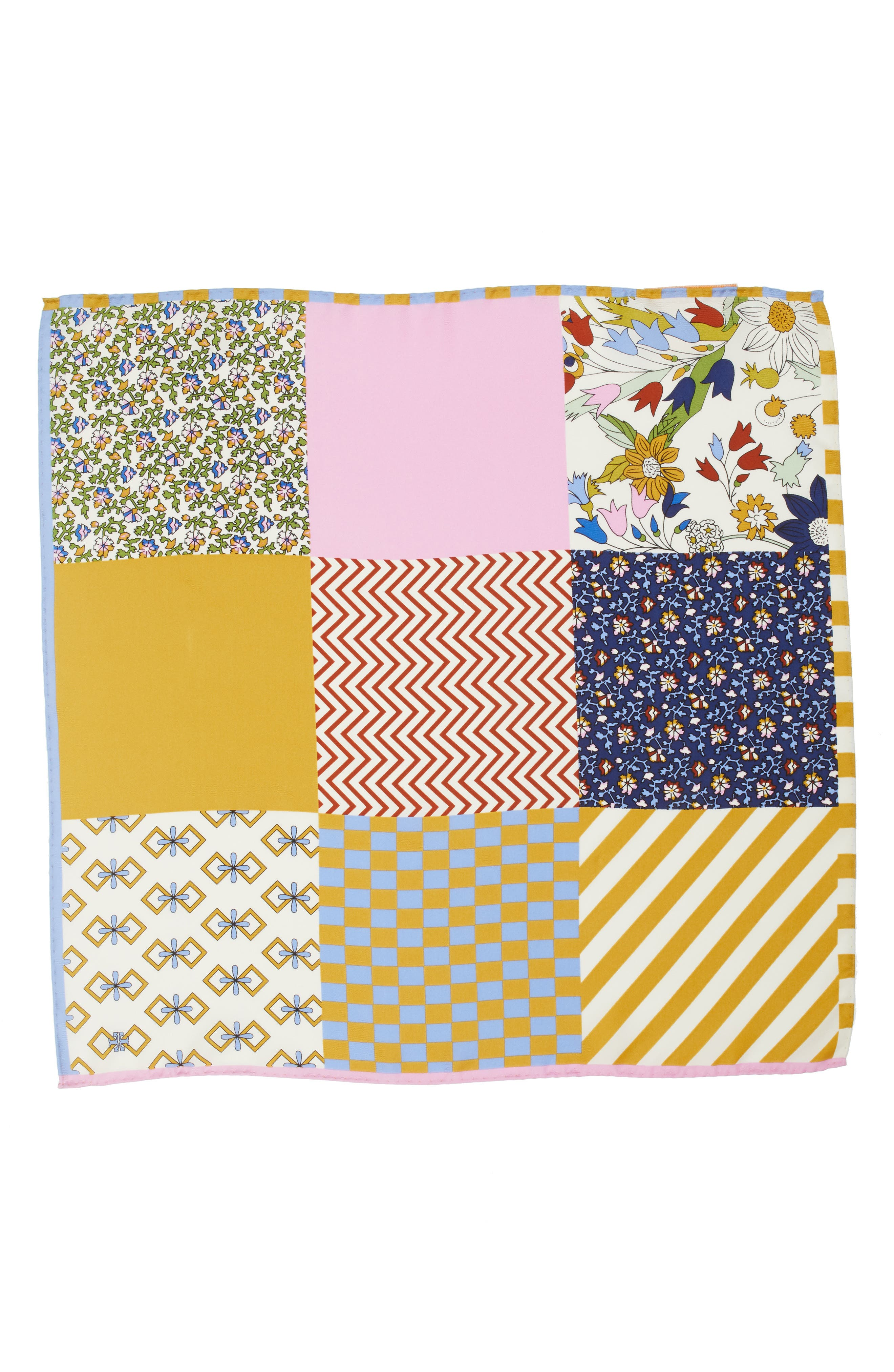 Patchwork Silk Scarf,                             Alternate thumbnail 3, color,                             900