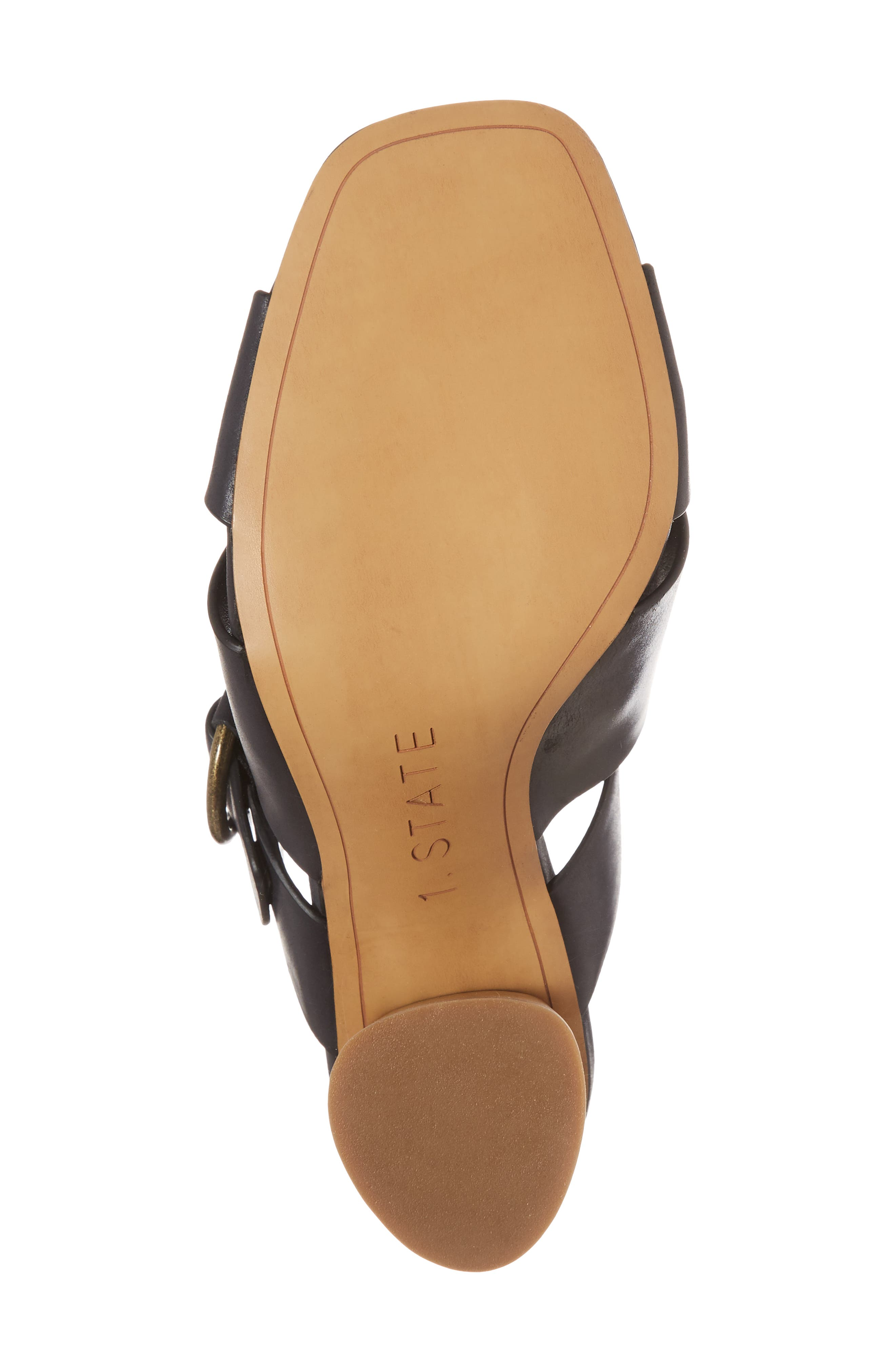 Icendra Flared Heel Mule Sandal,                             Alternate thumbnail 6, color,                             BLACK LEATHER