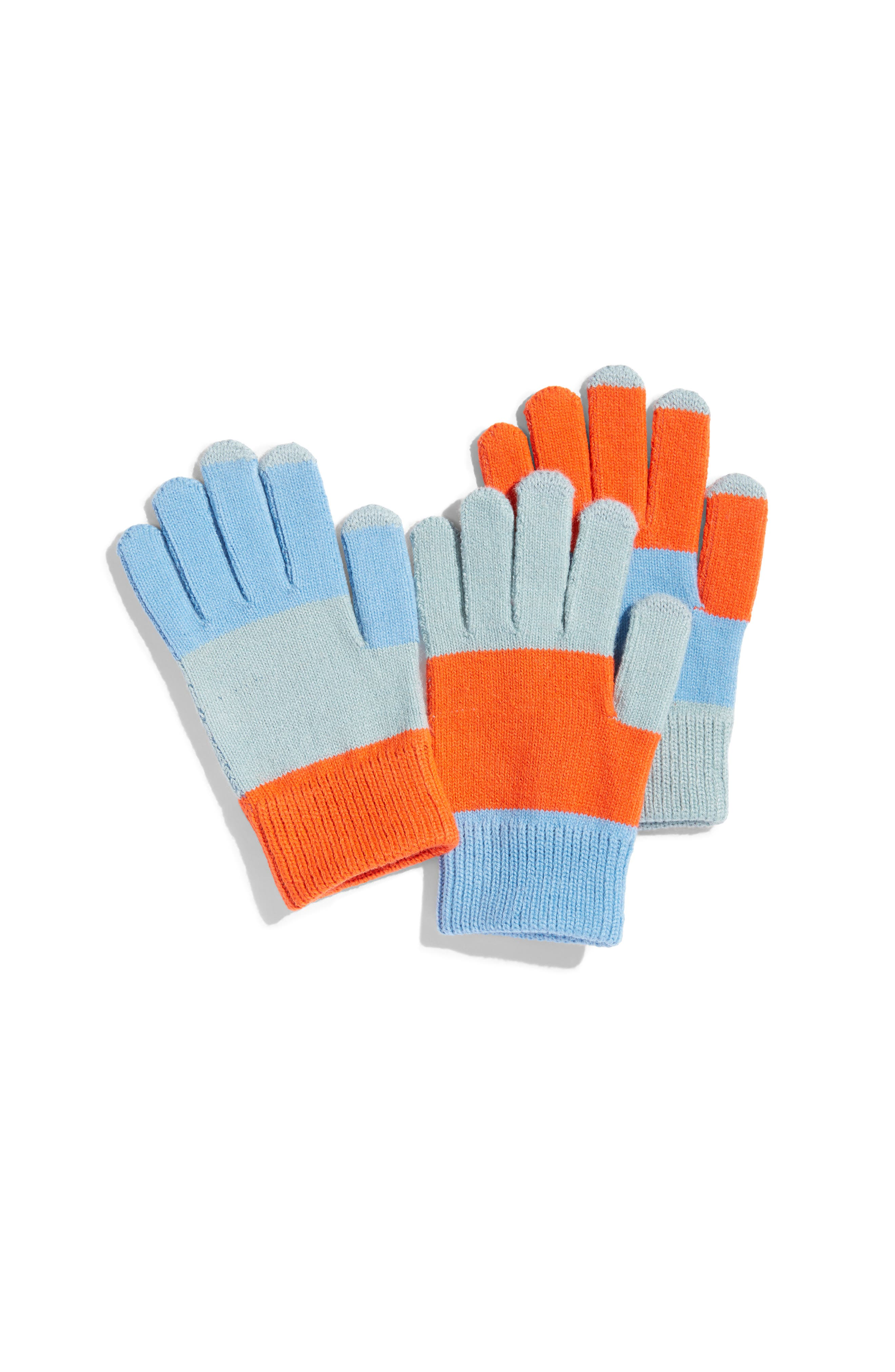 Pair & Spare Set of 3 Touchscreen Gloves,                         Main,                         color, BLUES ORANGE