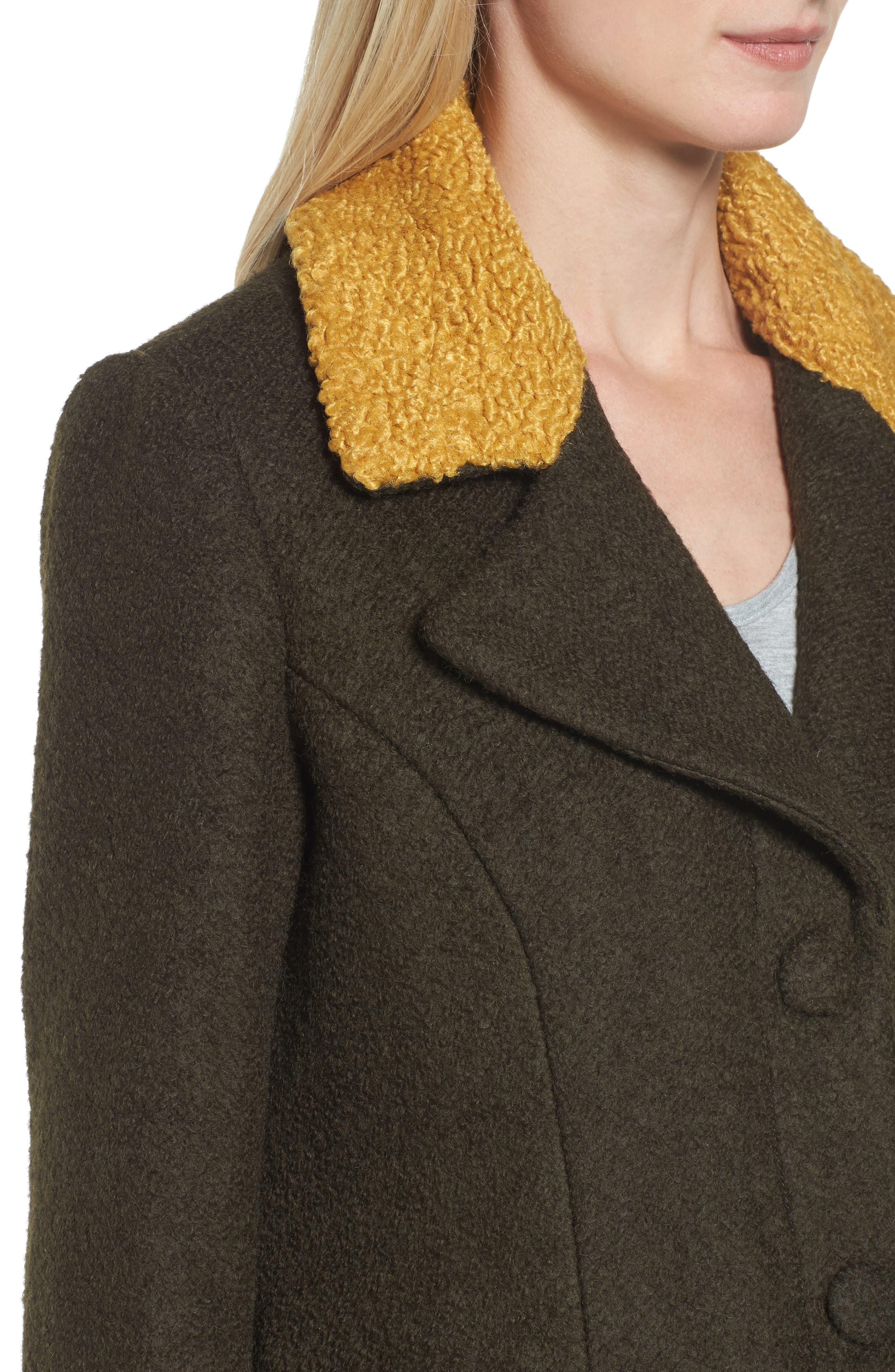 Contrast Collar Bouclé Coat,                             Alternate thumbnail 11, color,