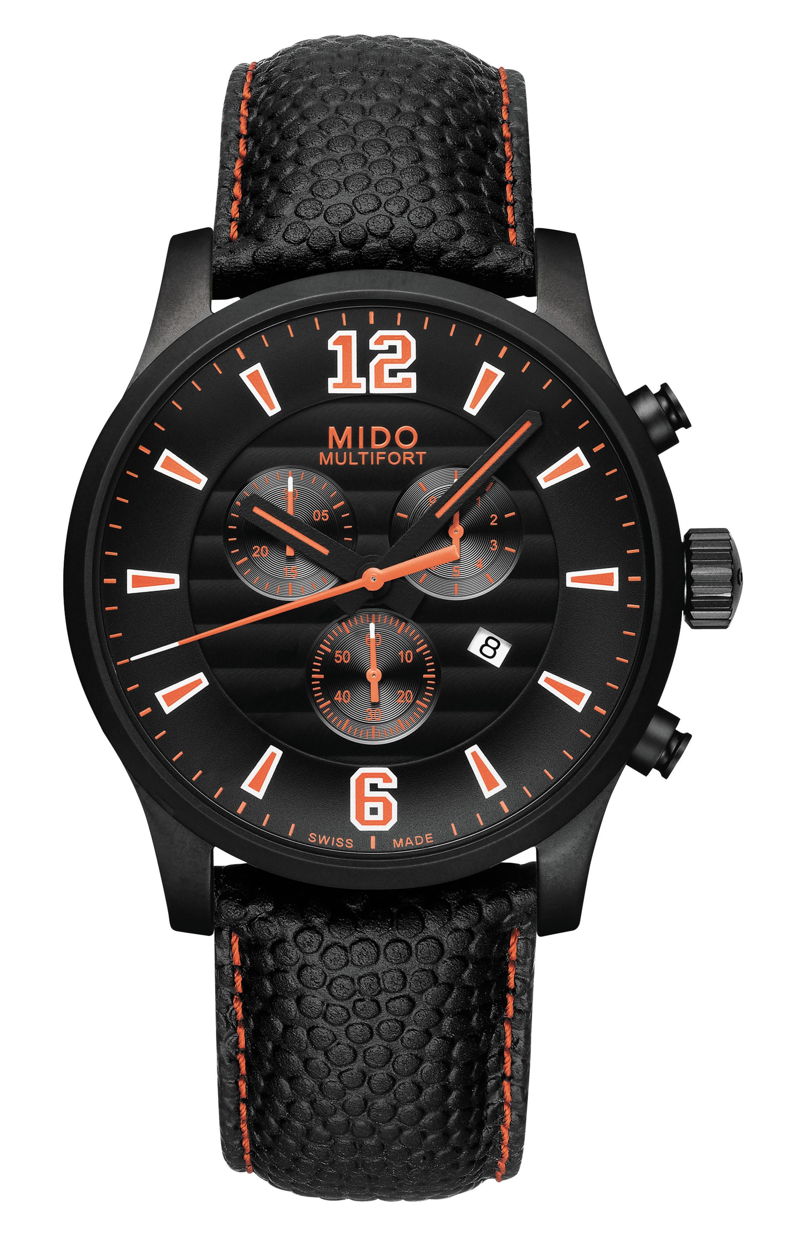 Multifort Chronograph Leather Strap Watch, 42mm,                             Alternate thumbnail 5, color,                             BLACK/ ORANGE/ SILVER