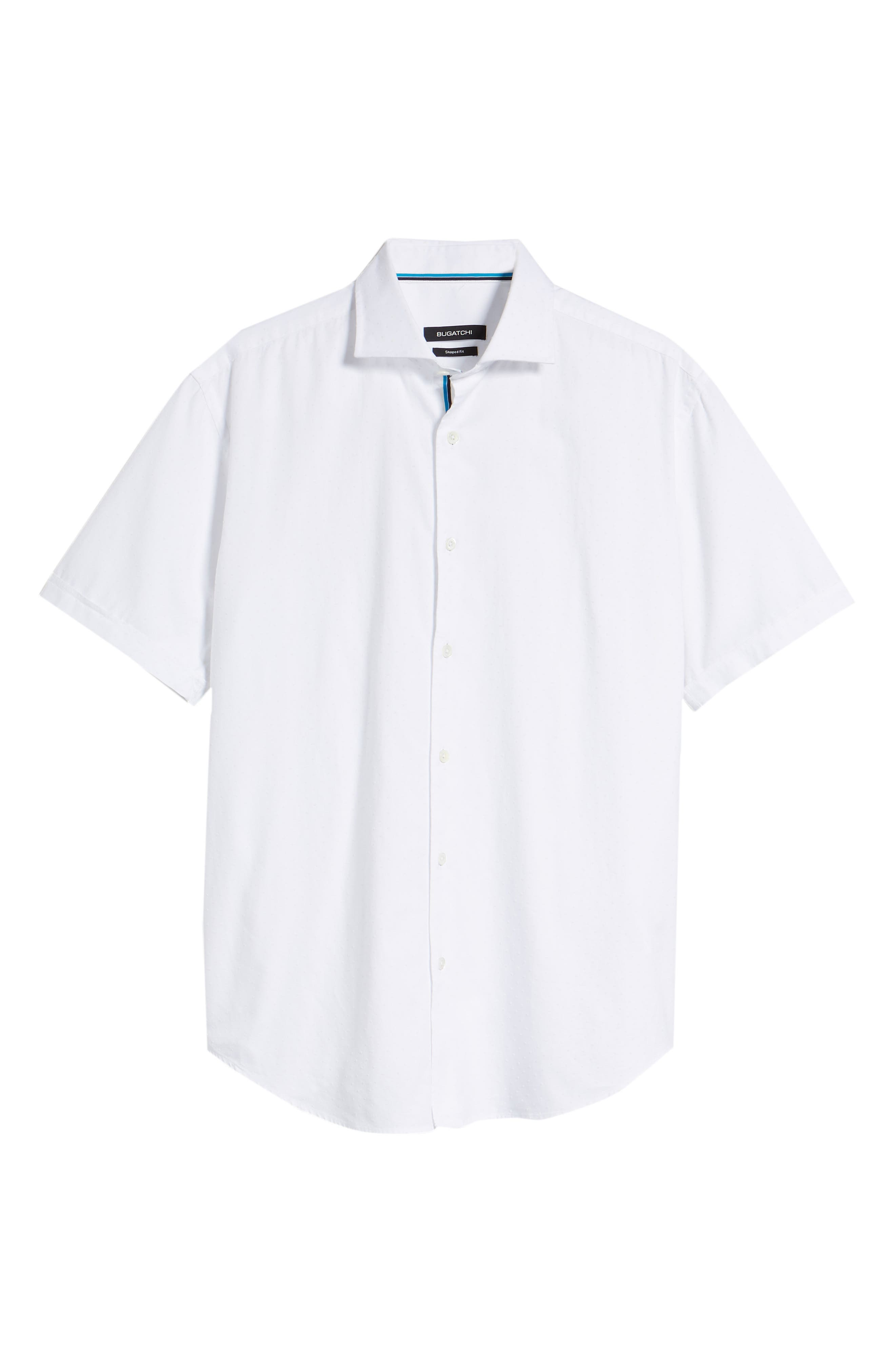 Shaped Fit Solid Sport Shirt,                             Alternate thumbnail 5, color,                             WHITE