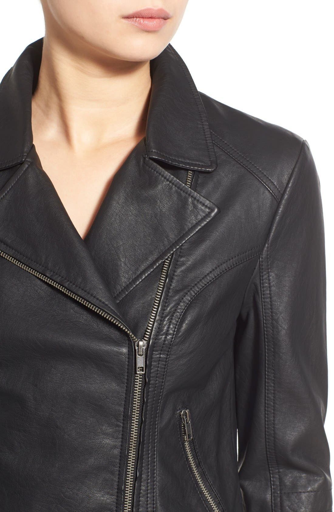 'Sid' Faux Leather Moto Jacket,                             Alternate thumbnail 12, color,