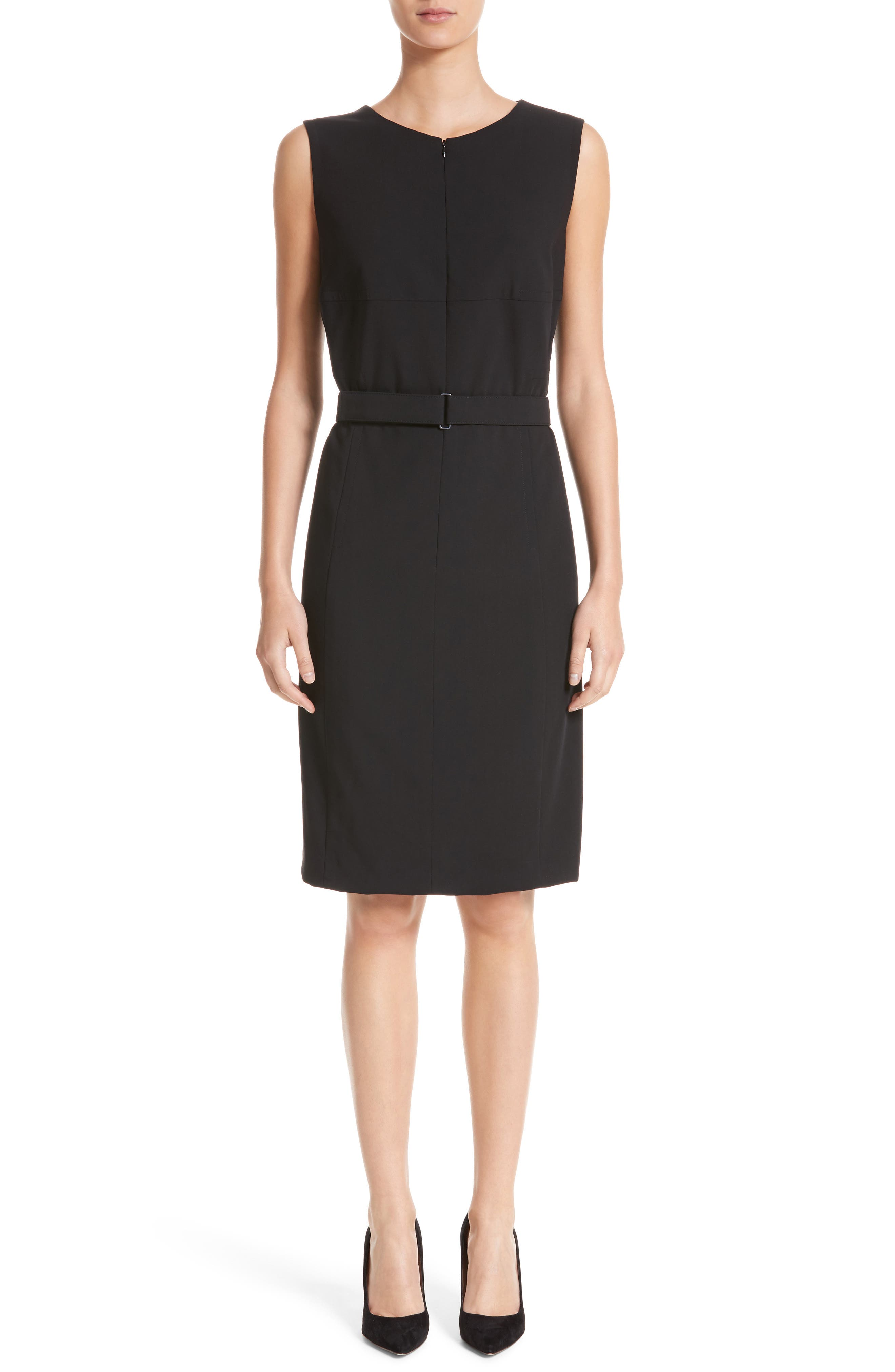 Belted Zip Front Wool Dress,                         Main,                         color, 001