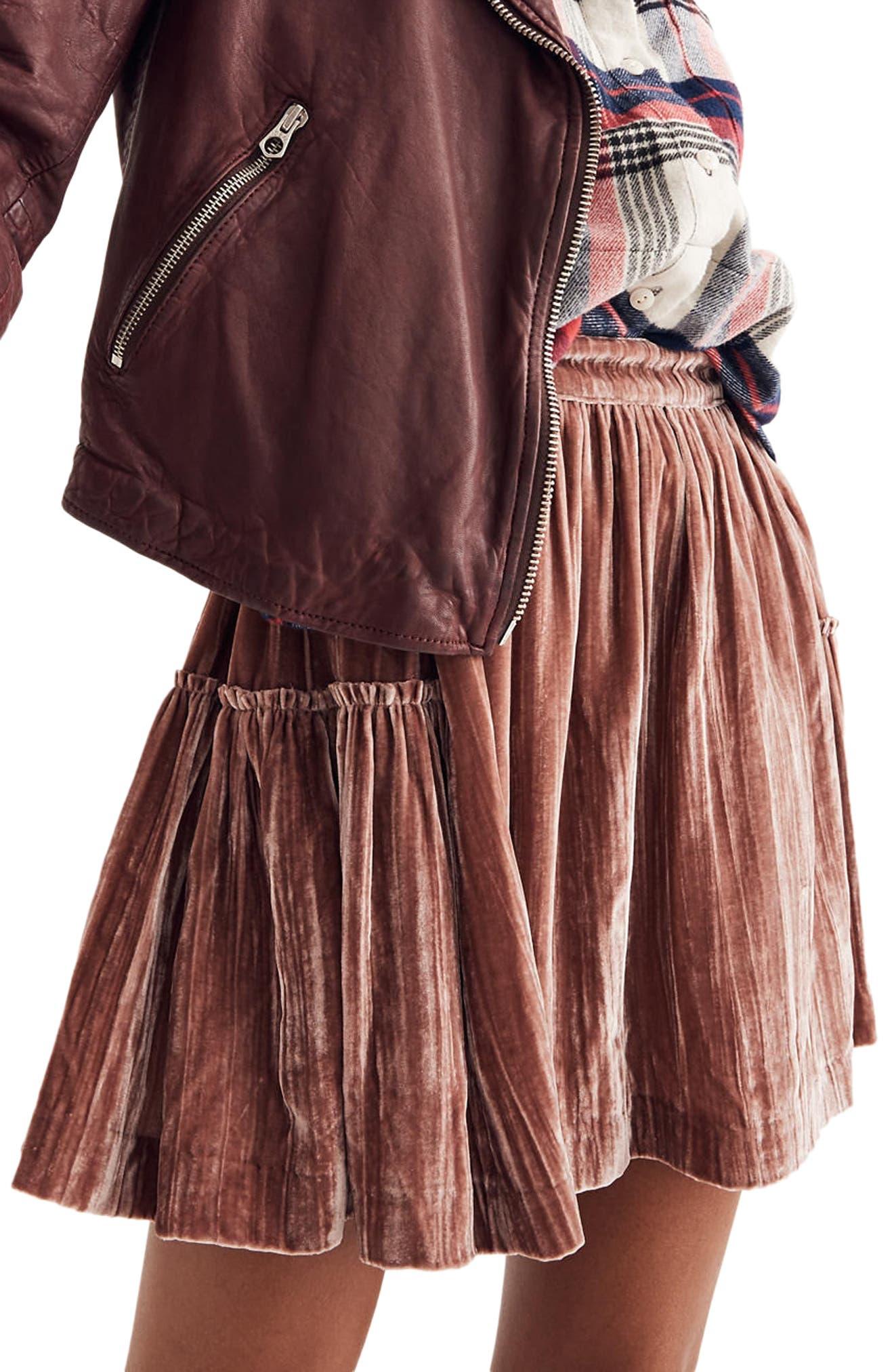 Crushed Velvet Miniskirt,                             Alternate thumbnail 3, color,                             650