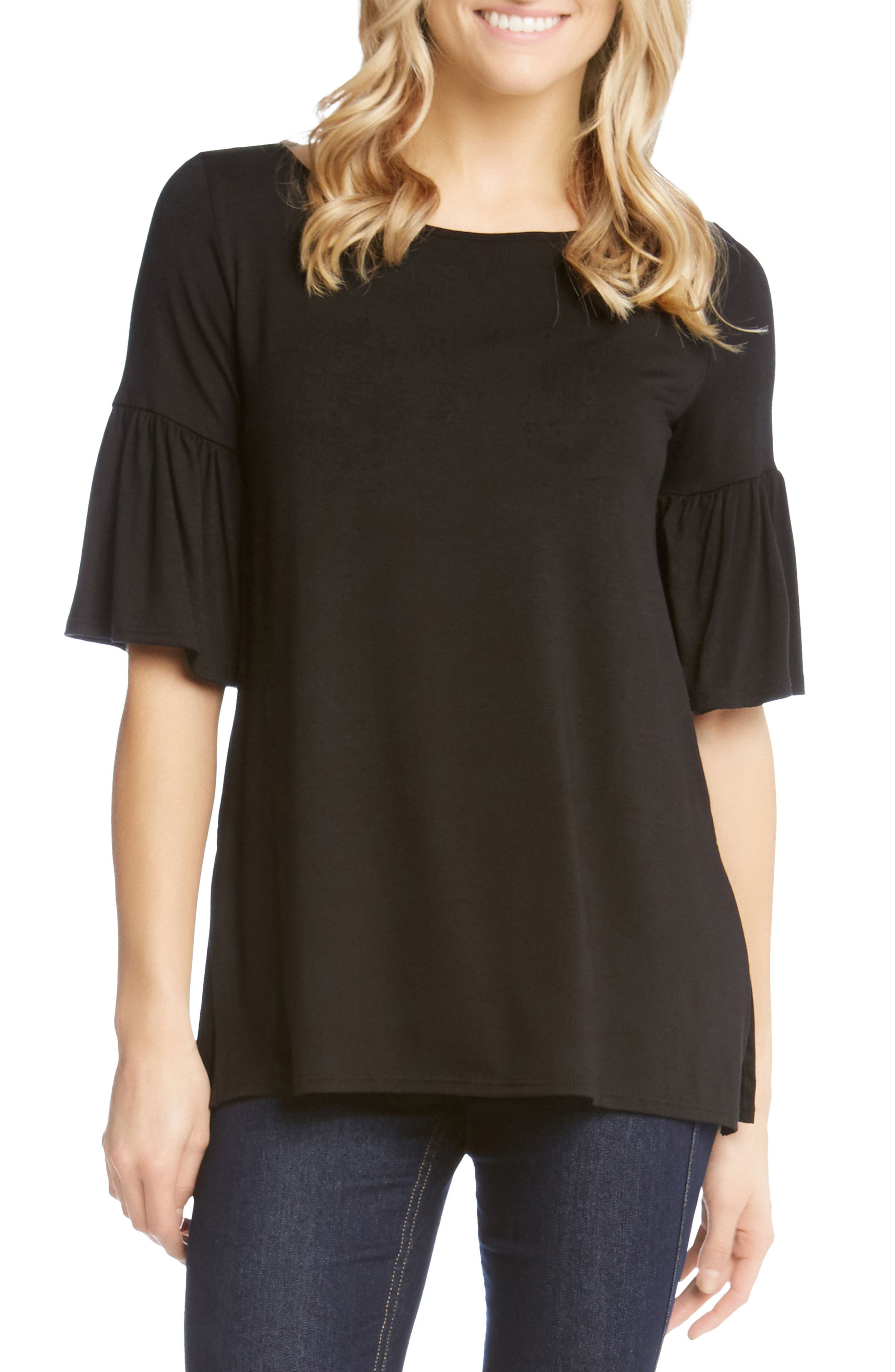 Flare Sleeve Top,                         Main,                         color, BLACK