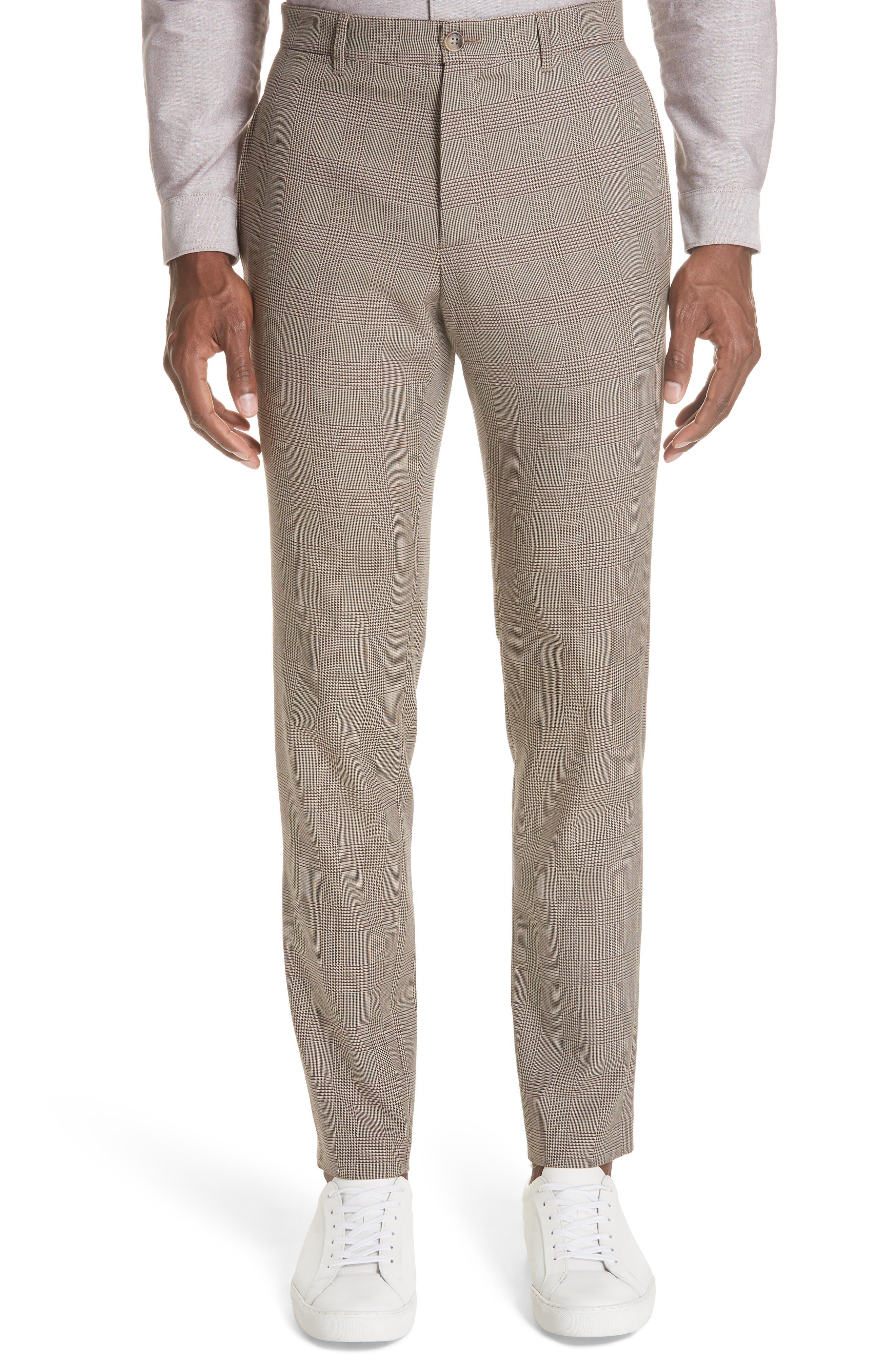 Check Wool Blend Pants,                             Main thumbnail 1, color,                             BAC BEIGE