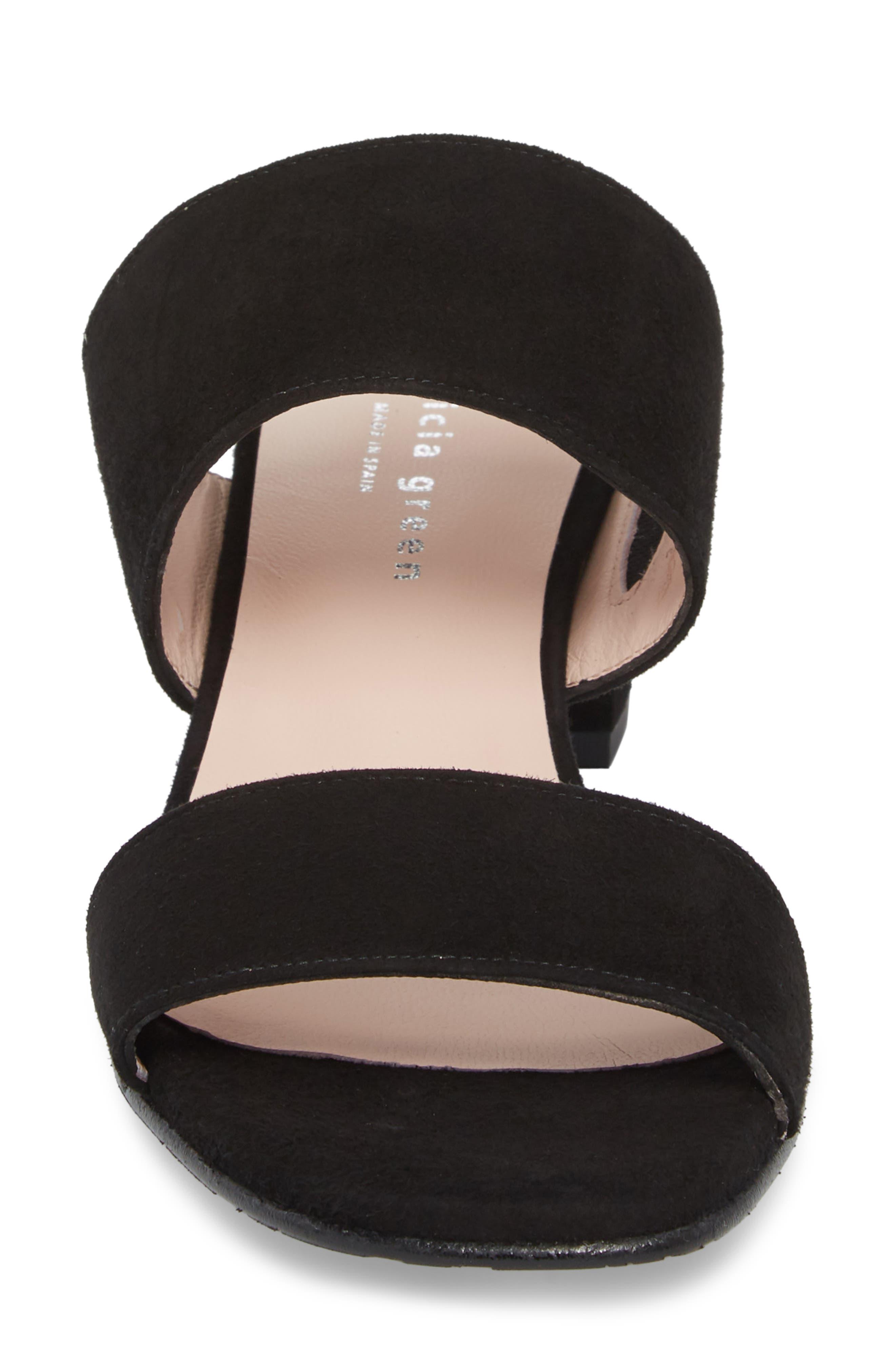 Lola Slide Sandal,                             Alternate thumbnail 4, color,                             BLACK SUEDE