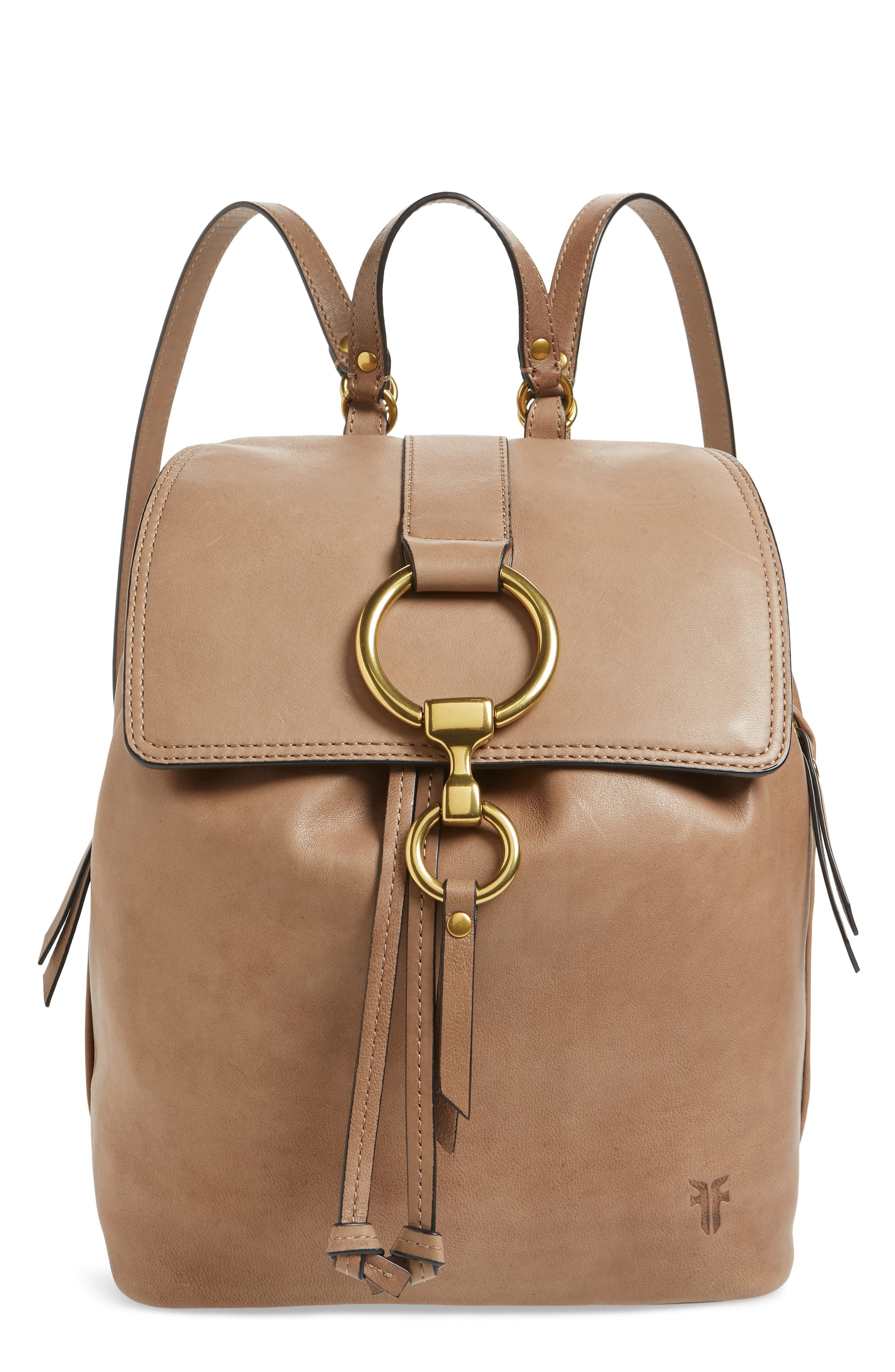 Small Ilana Leather Backpack, Main, color, GREY