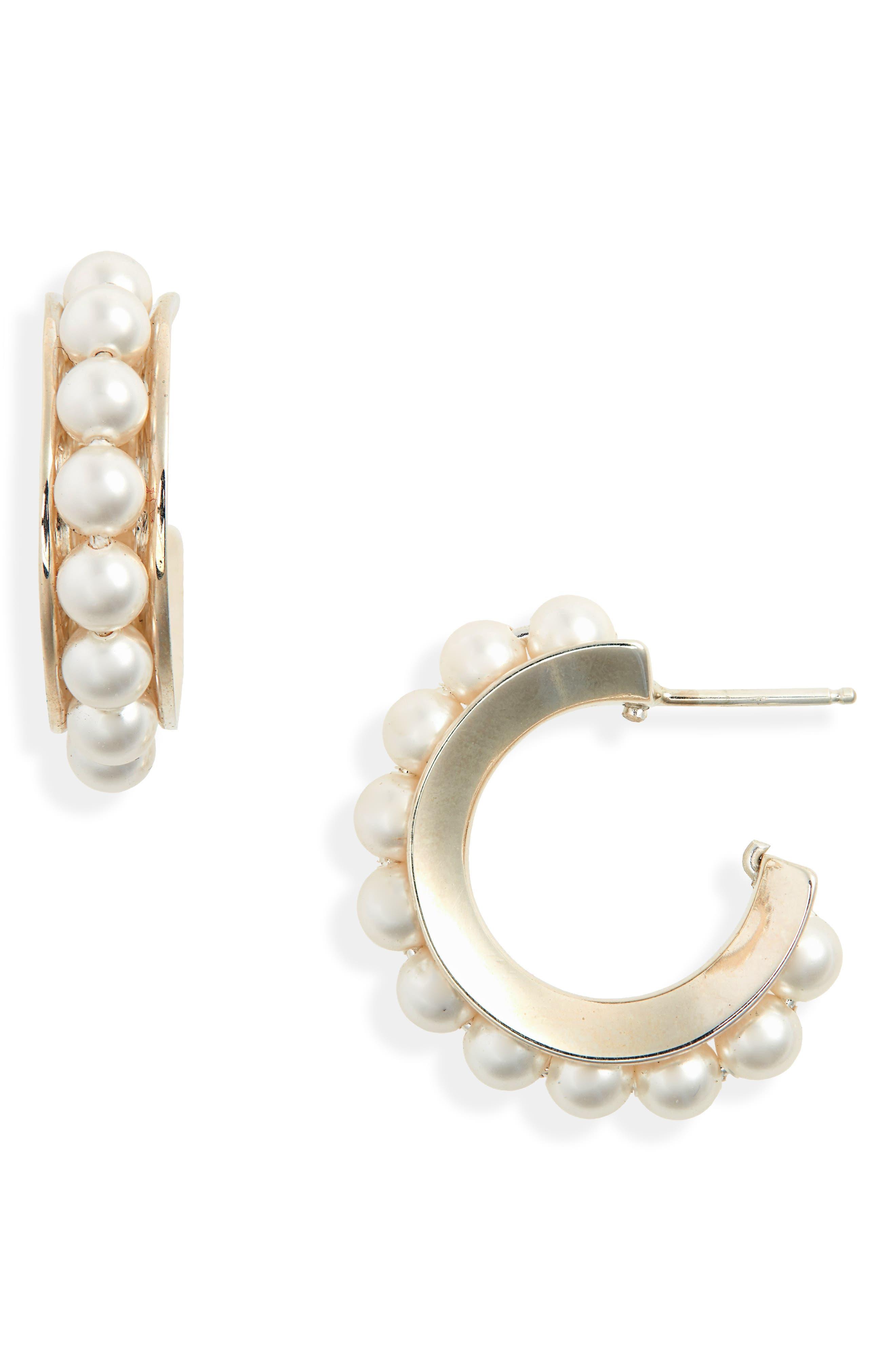 SOPHIE BUHAI Imitation Pearl Hoop Earrings in Swarovski Crystal Pearl