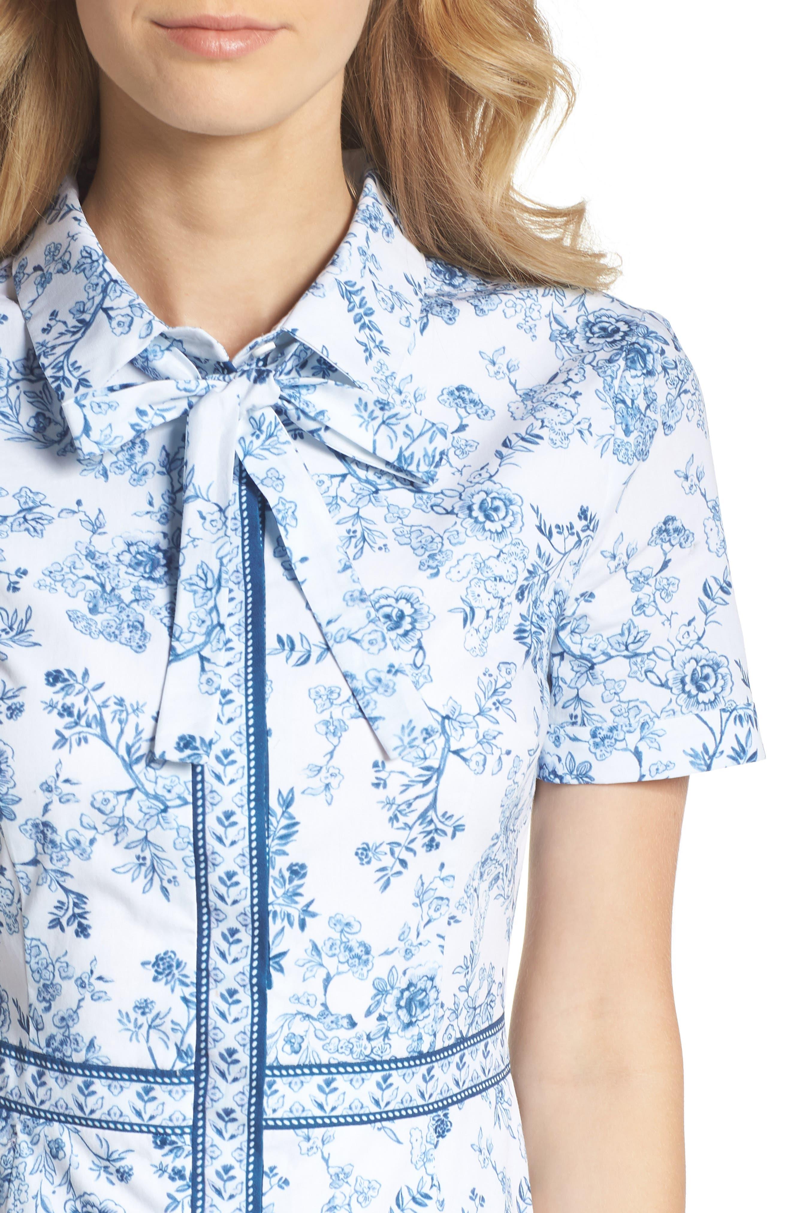 Darla Cotton Toile Shirtdress,                             Alternate thumbnail 4, color,                             415