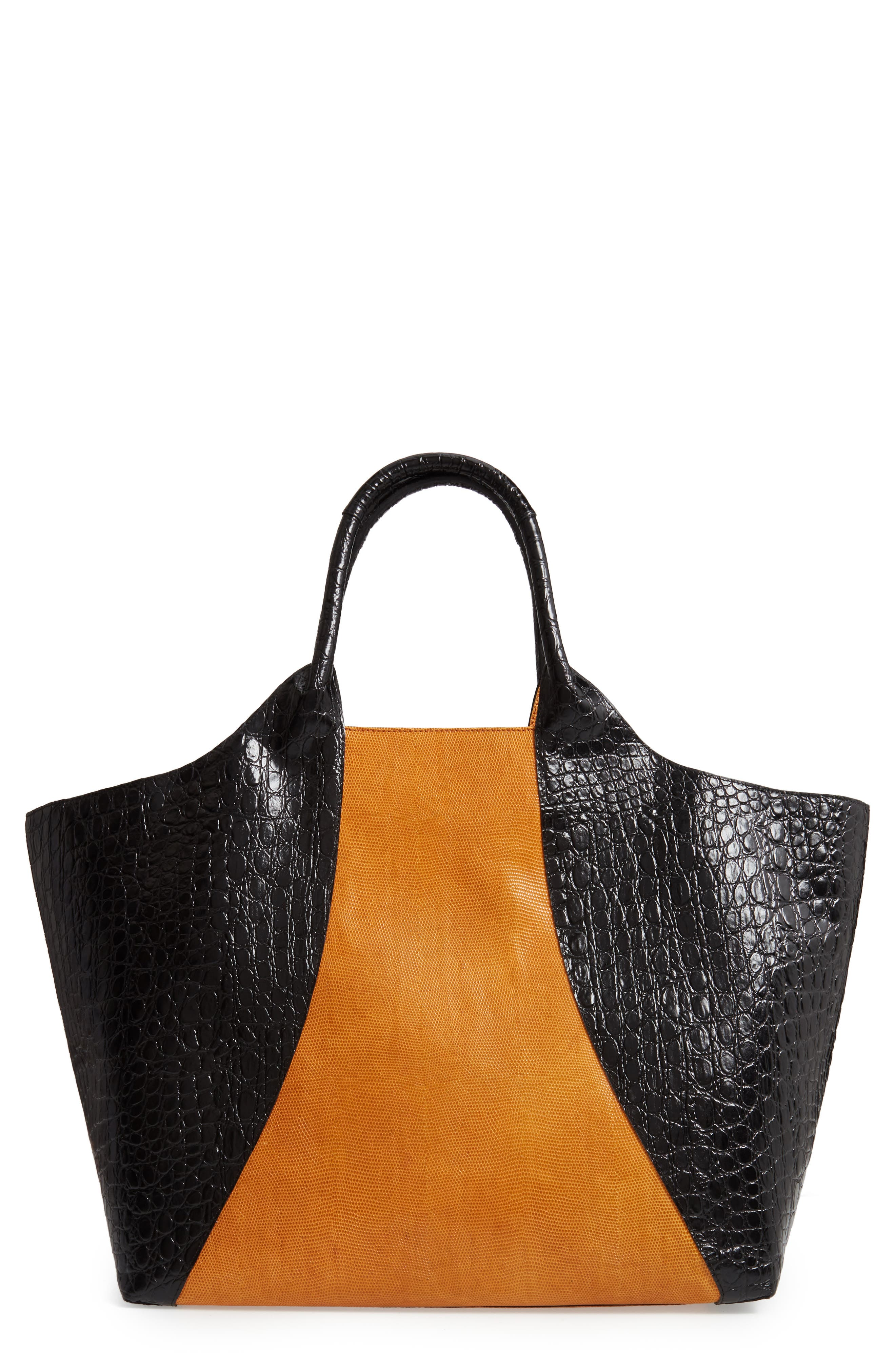 Embossed Leather Tote,                         Main,                         color, BLACK