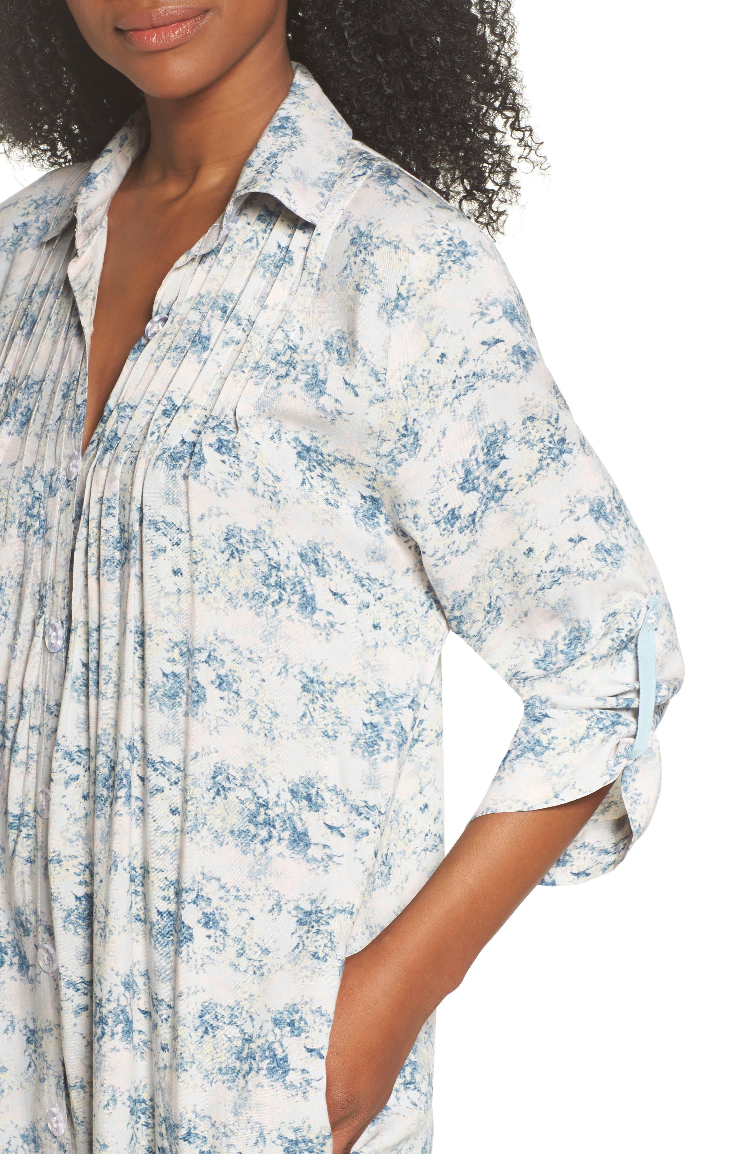 Floral Print Sleep Shirt,                             Alternate thumbnail 4, color,                             403