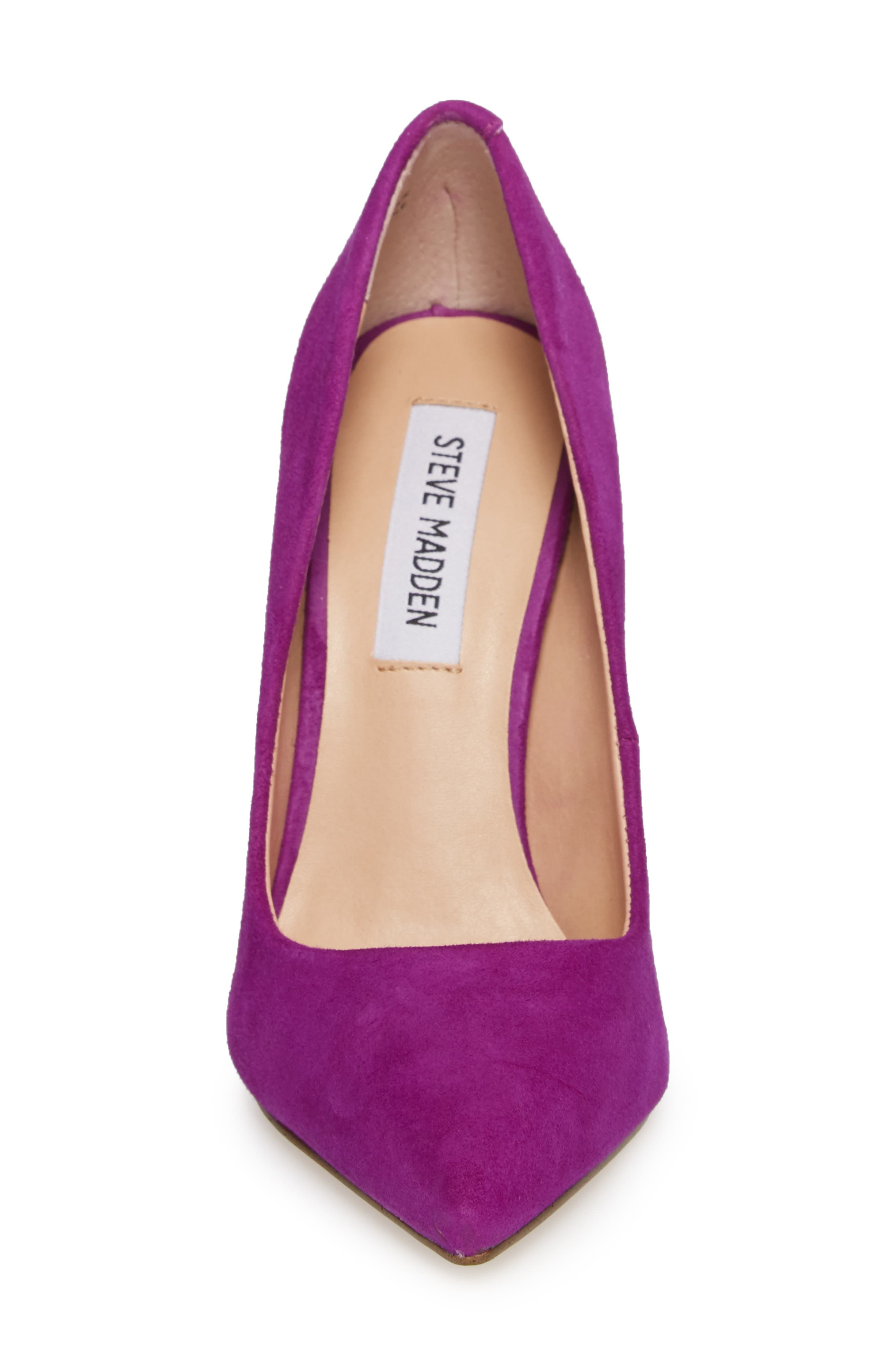 Daisie Pointy-Toe Pump,                             Alternate thumbnail 4, color,                             PURPLE SUEDE