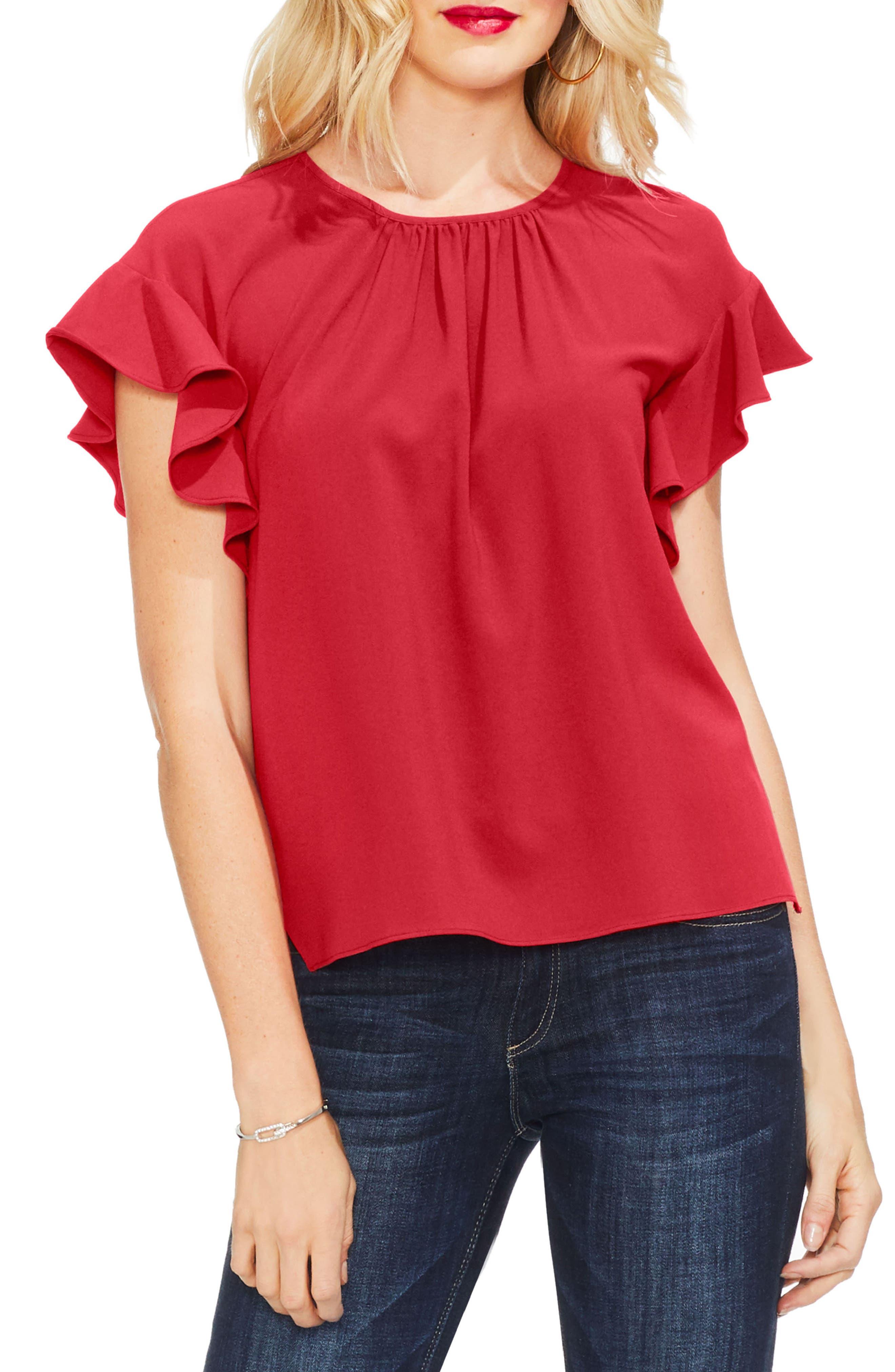 Ruffle Sleeve Blouse, Main, color, 601