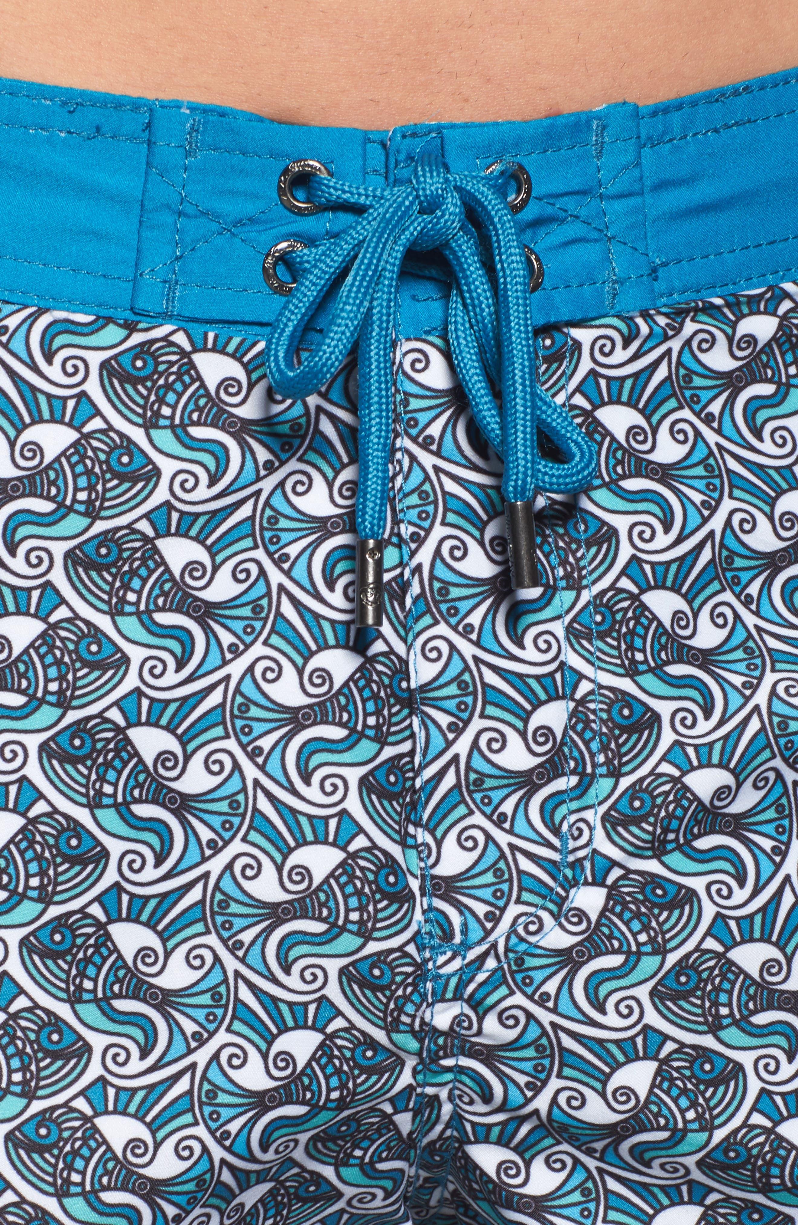 Mr. Swim Fish Swirls Print Swim Trunks,                             Alternate thumbnail 4, color,                             440