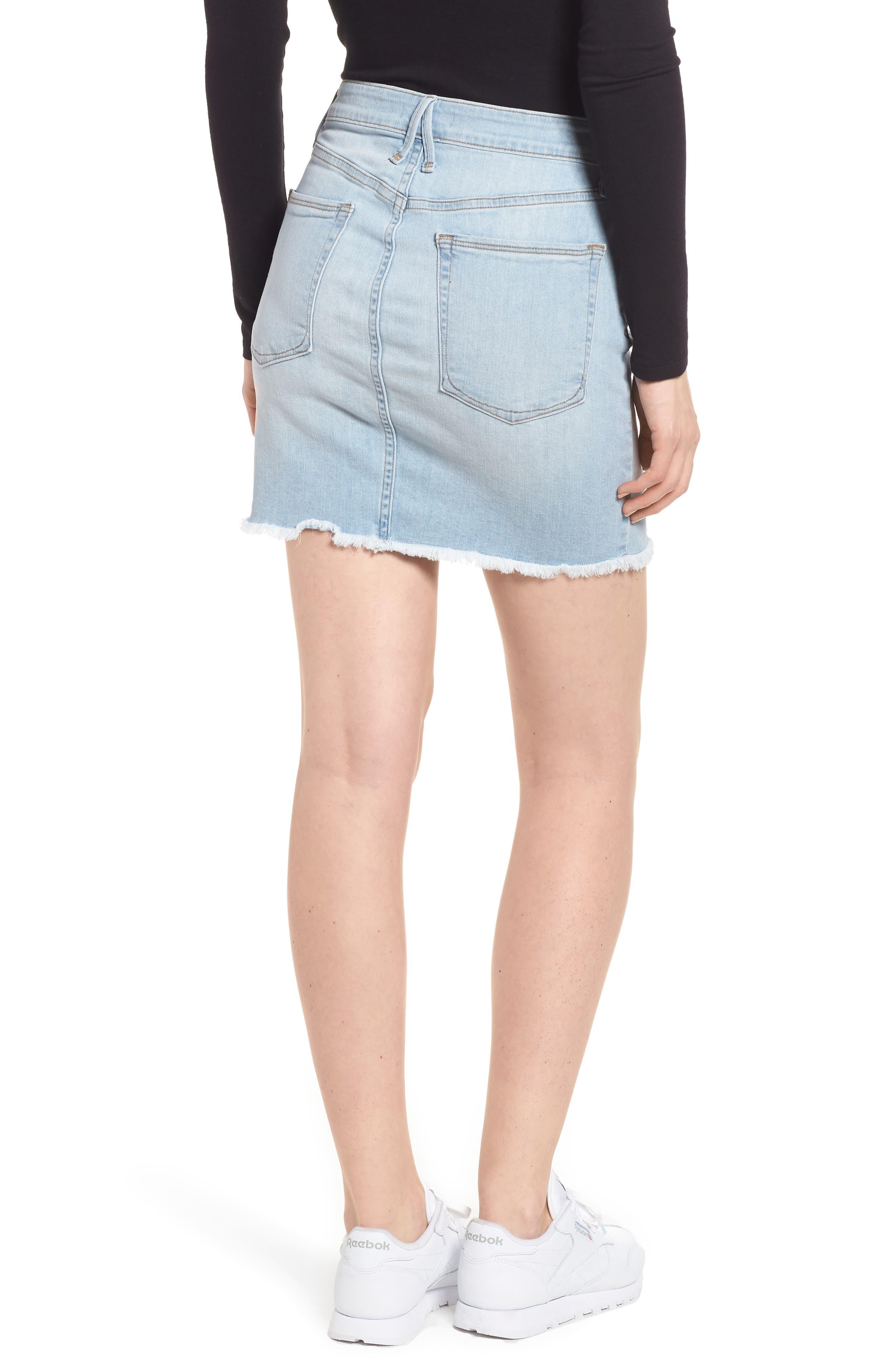 The Mini Distressed Seams Denim Miniskirt,                             Alternate thumbnail 2, color,                             401