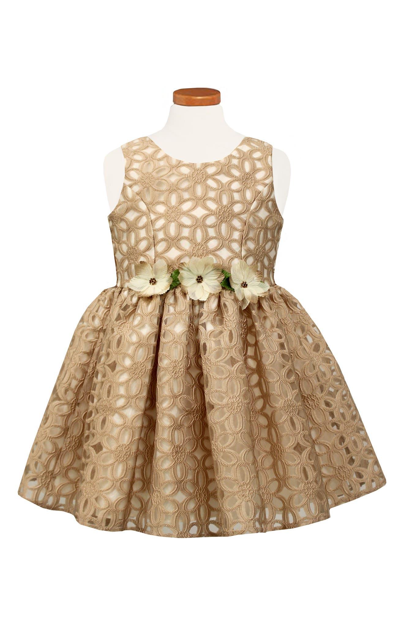 Floral Burnout Party Dress,                             Main thumbnail 1, color,                             664