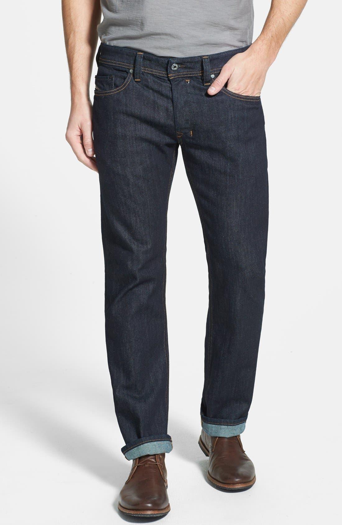 'Safado' Slim Fit Selvedge Jeans, Main, color, 400