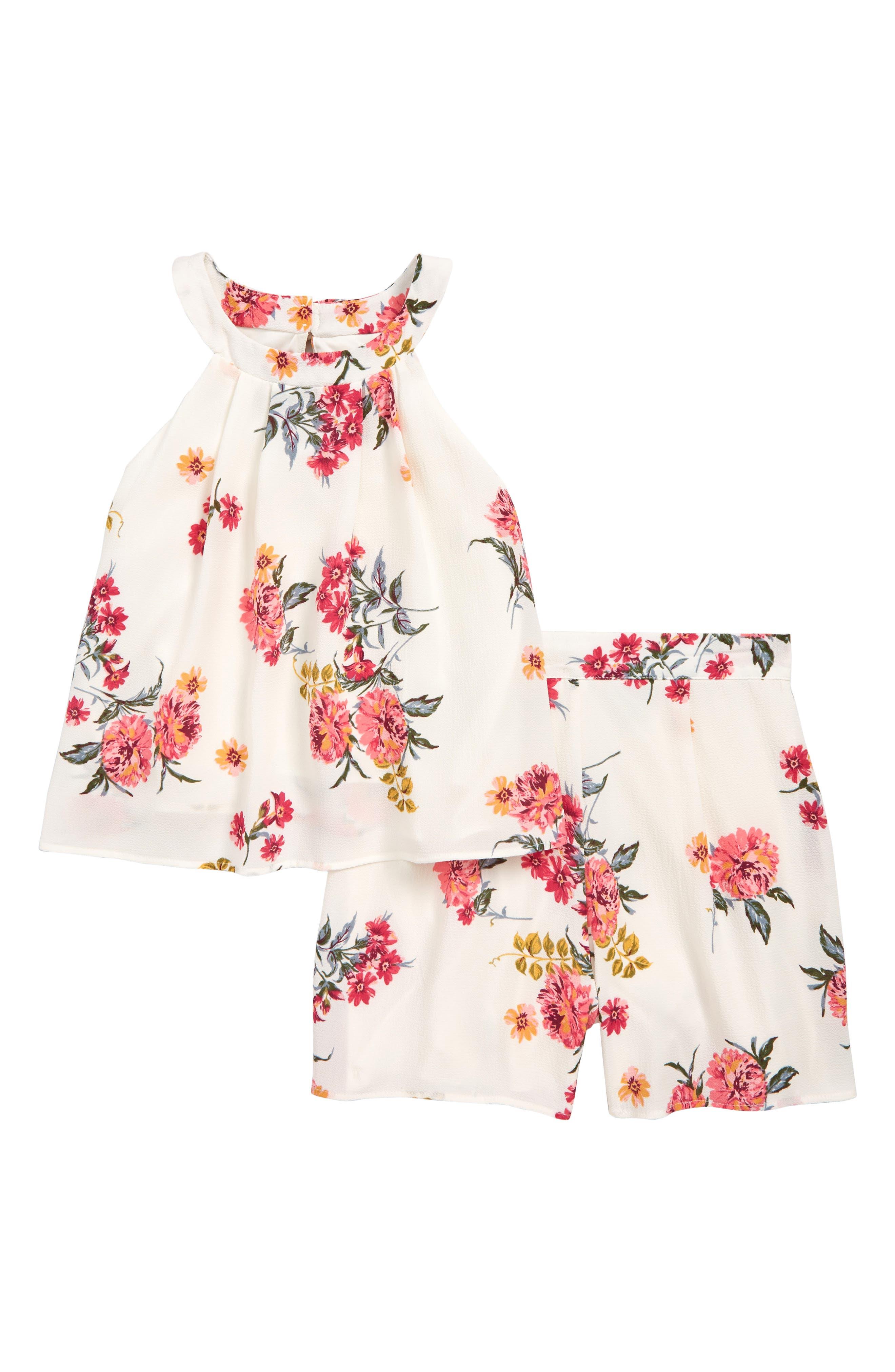 ZUNIE Floral Print Tank & Shorts Set, Main, color, IVORY