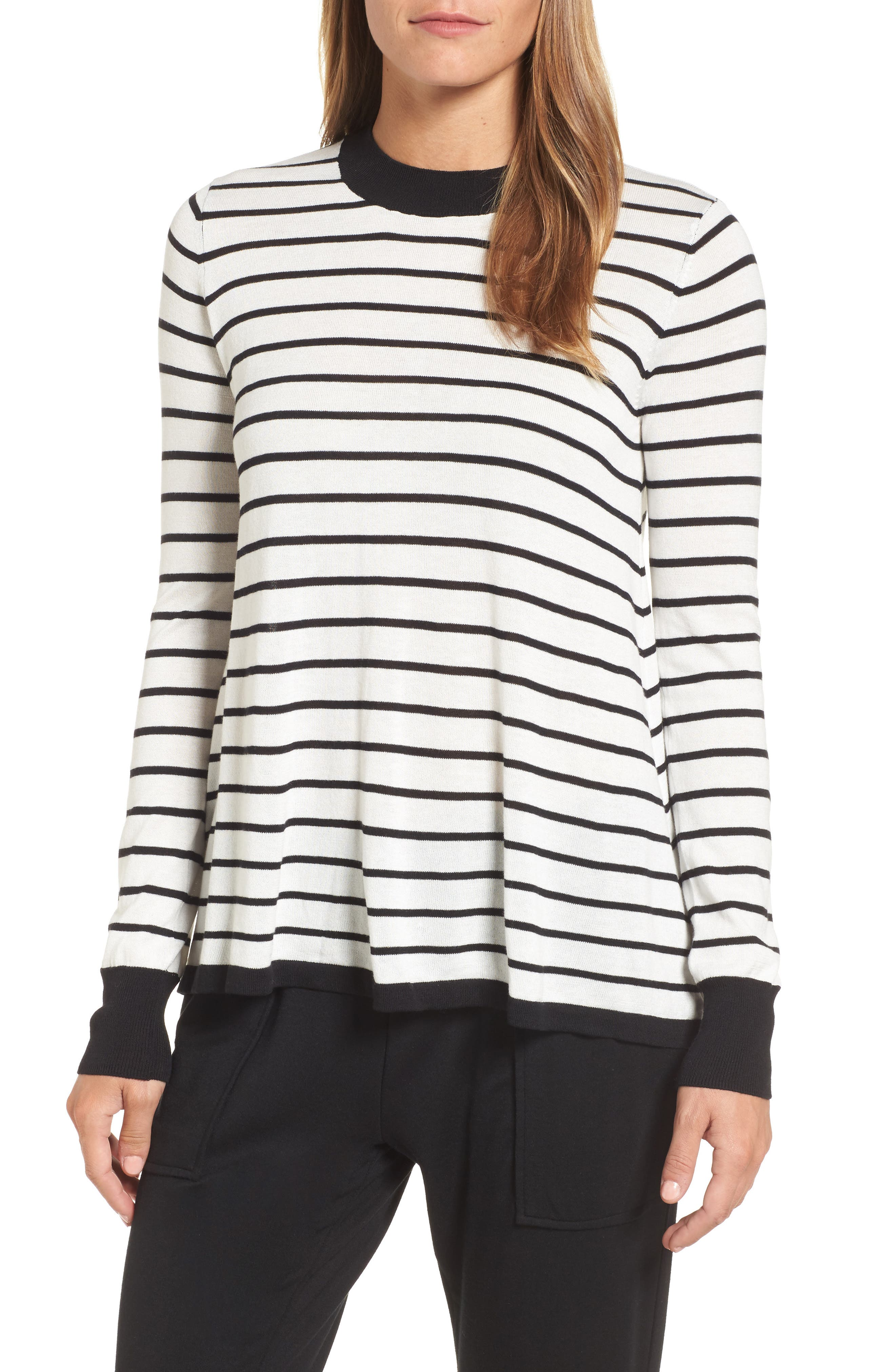 Trapeze Fit Stripe Sweater,                             Main thumbnail 1, color,                             907