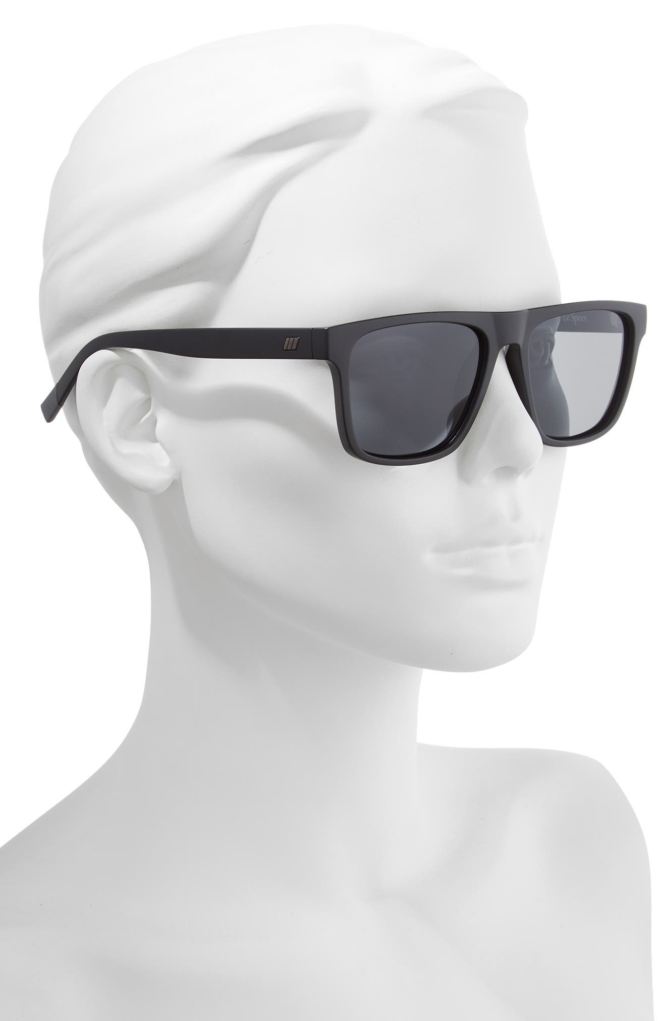 The Boss 55mm Rectangle Polarized Sunglasses,                             Alternate thumbnail 2, color,                             MATTE BLACK