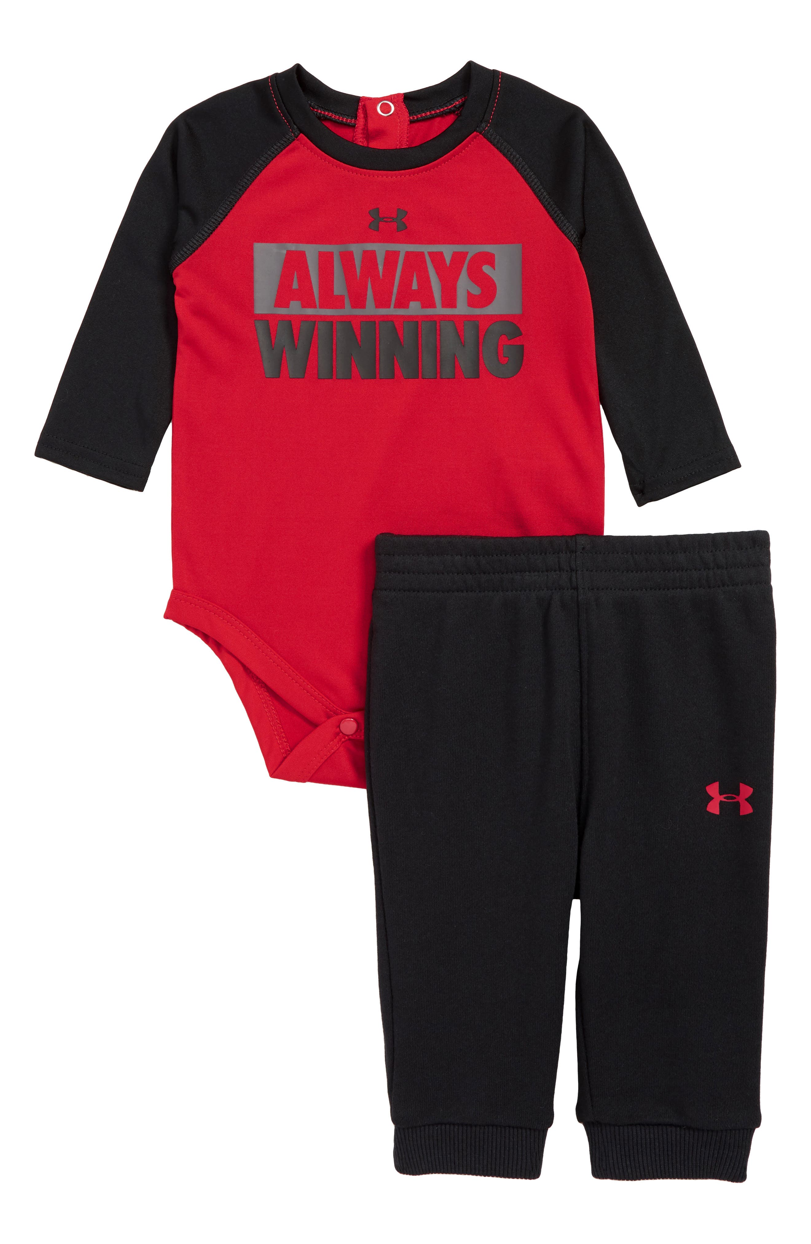 Always Winning Bodysuit & Pants Set,                         Main,                         color, RED