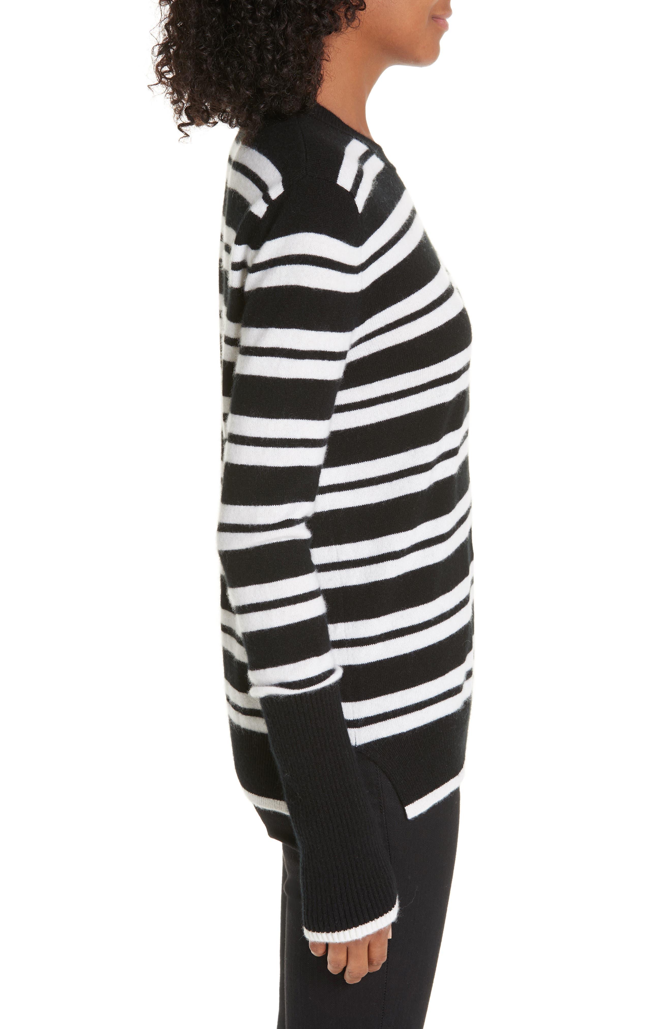 Le Ligne Tripe Stripe Cashmere Sweater,                             Alternate thumbnail 3, color,                             BLACK/ CREAM