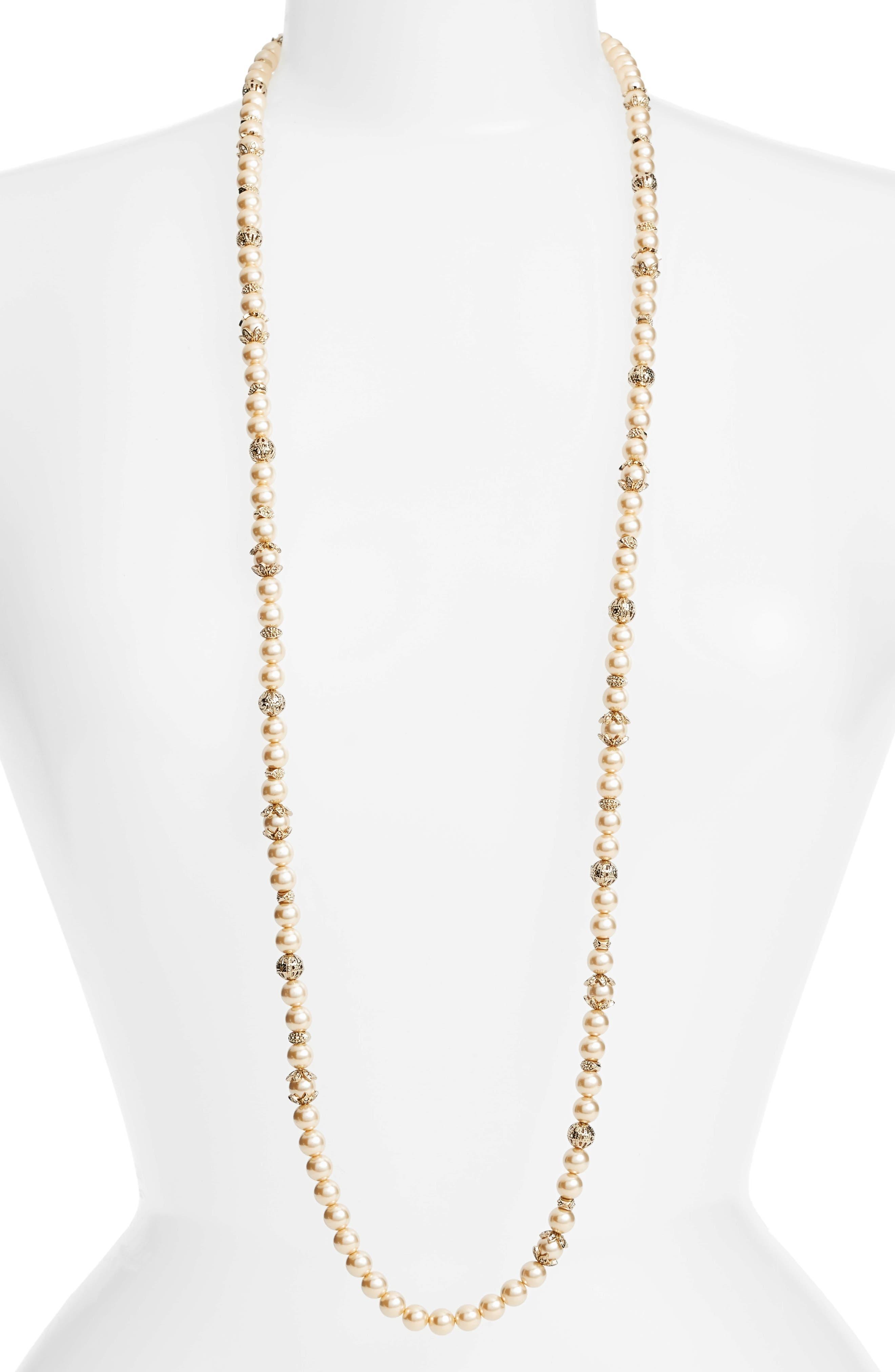 Imitation Pearl Strand Necklace,                             Alternate thumbnail 2, color,