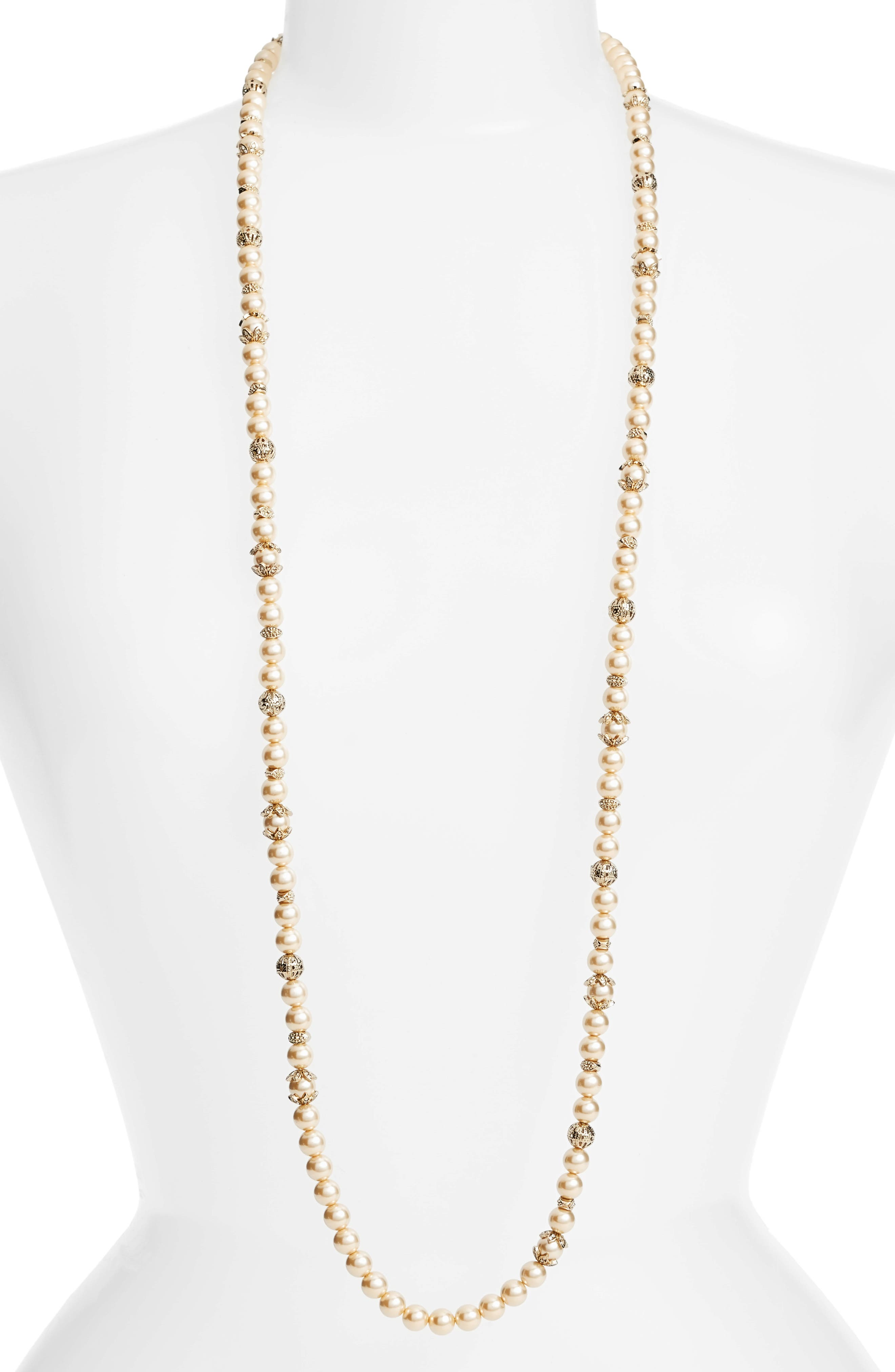 Imitation Pearl Strand Necklace,                         Main,                         color, 710