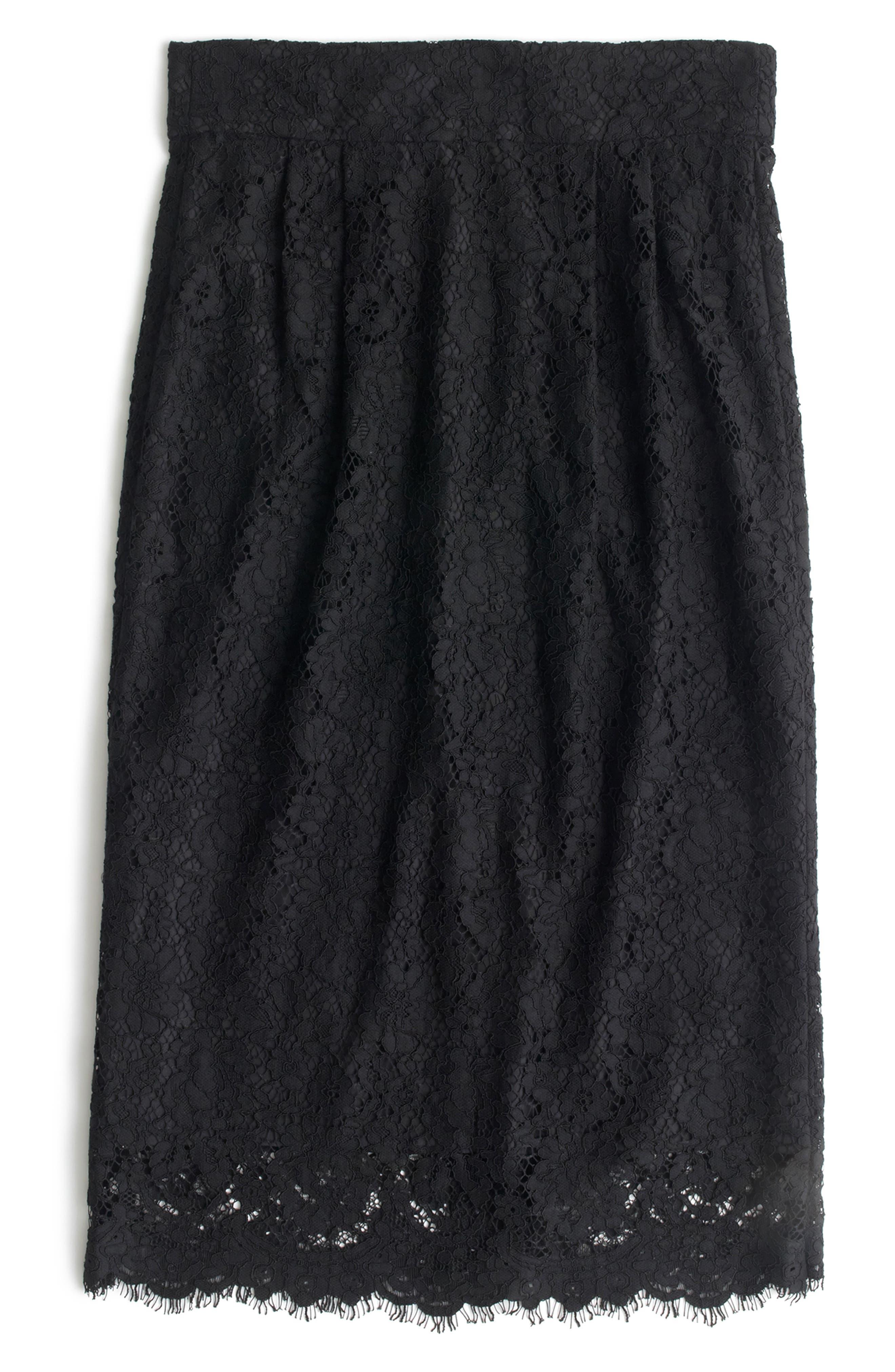 J.crew Lace Pintuck Pencil Skirt, Black