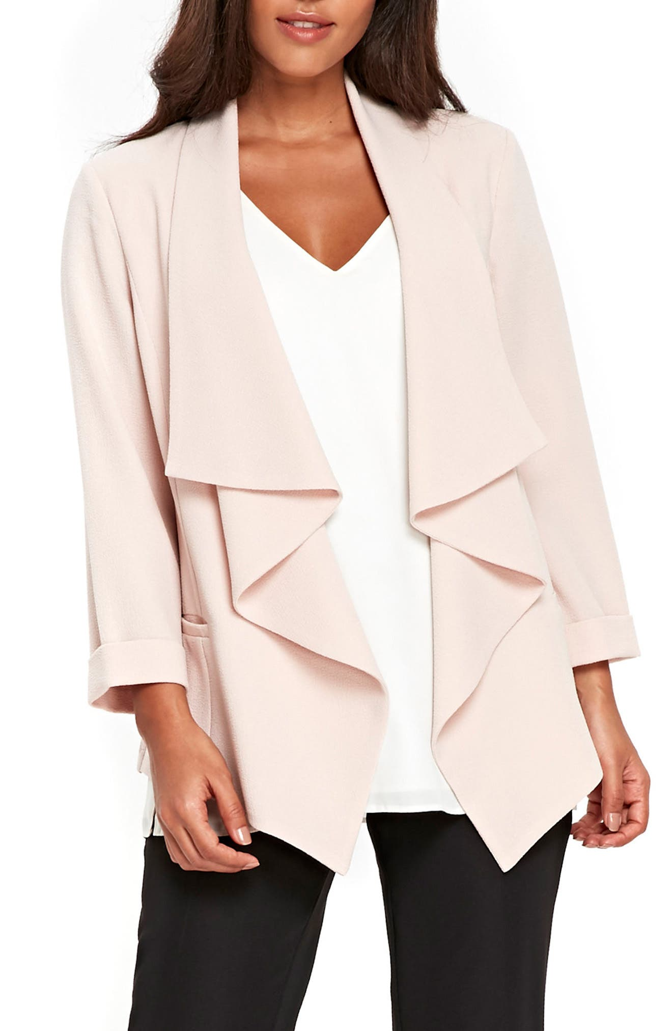 Drape Front Waterfall Jacket,                         Main,                         color, 950