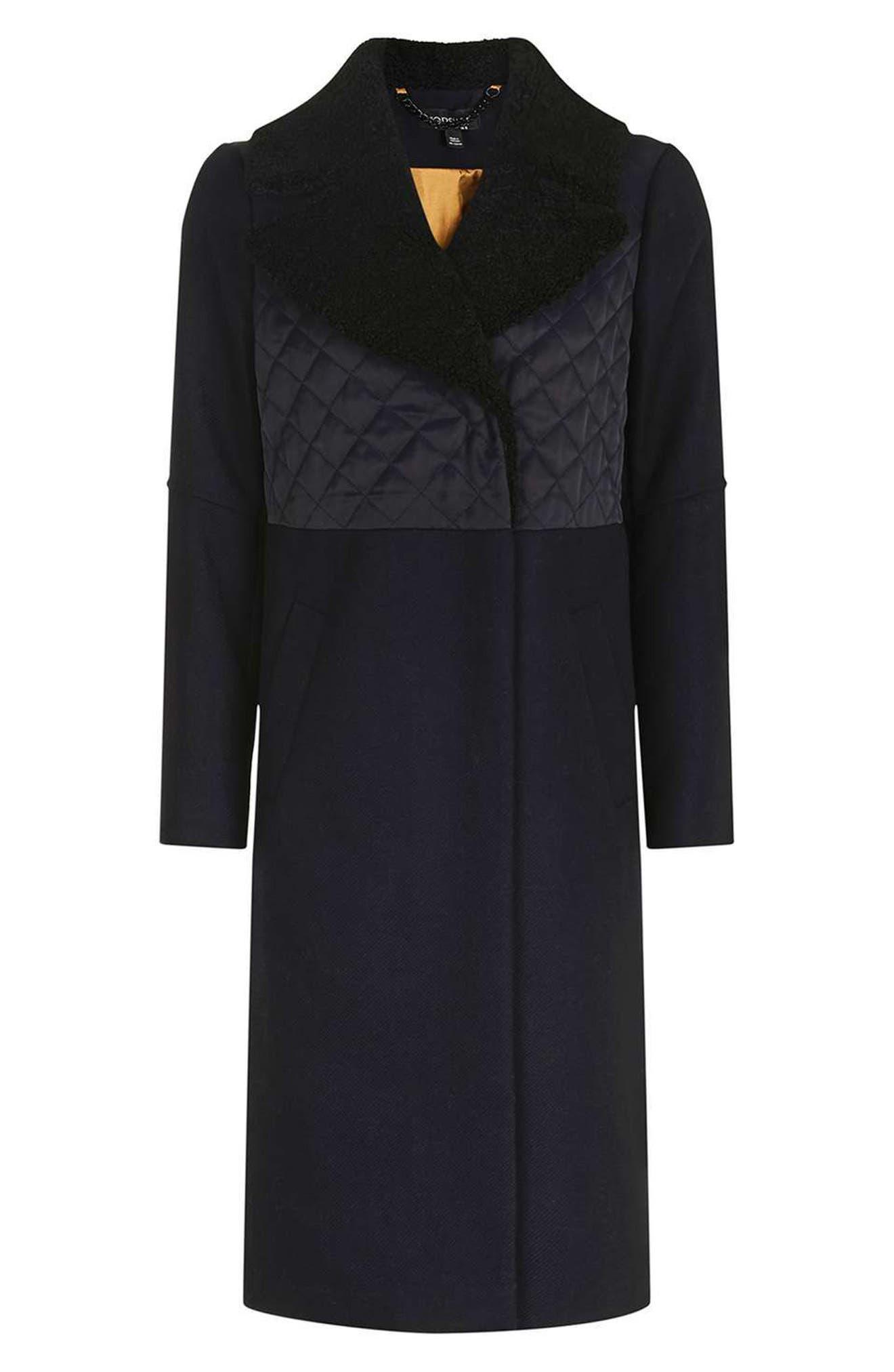 Faux Shearling Collar Coat,                             Alternate thumbnail 4, color,                             410