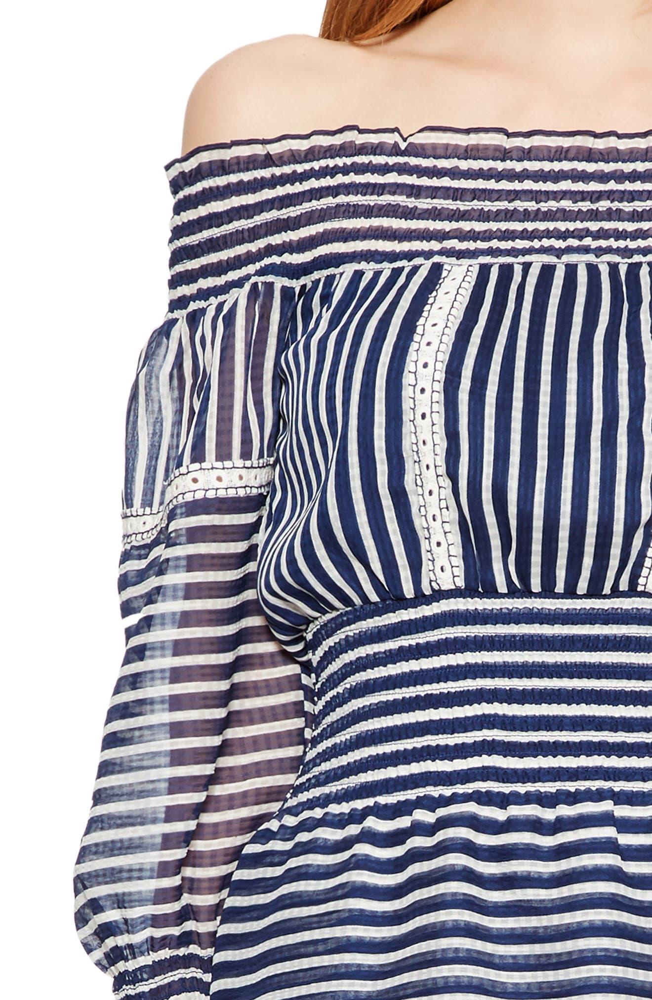 Carah Stripe Off the Shoulder Dress,                             Alternate thumbnail 4, color,                             496