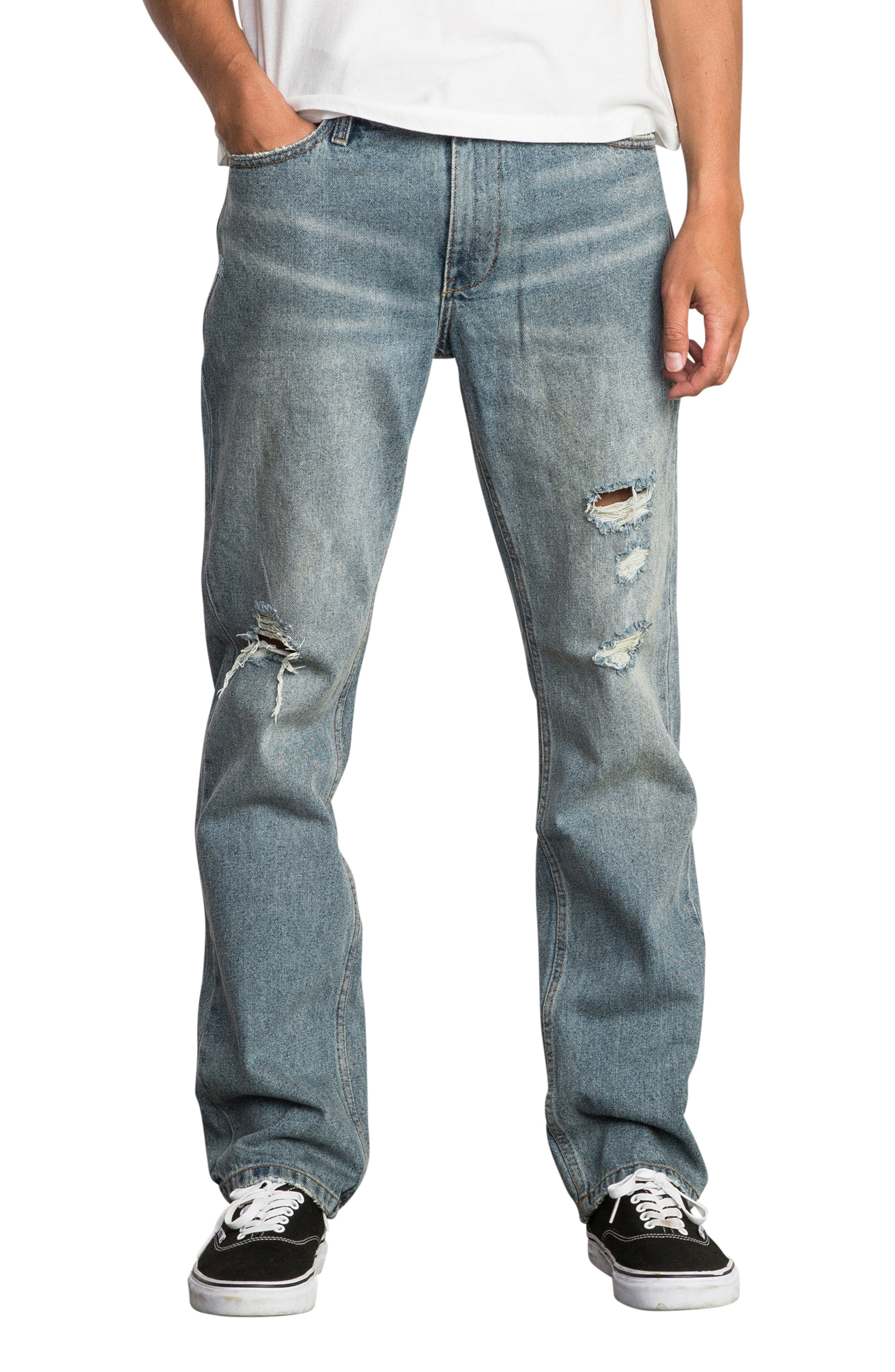 Stay RVCA Slim Fit Jeans,                             Main thumbnail 1, color,                             WORN BLUE