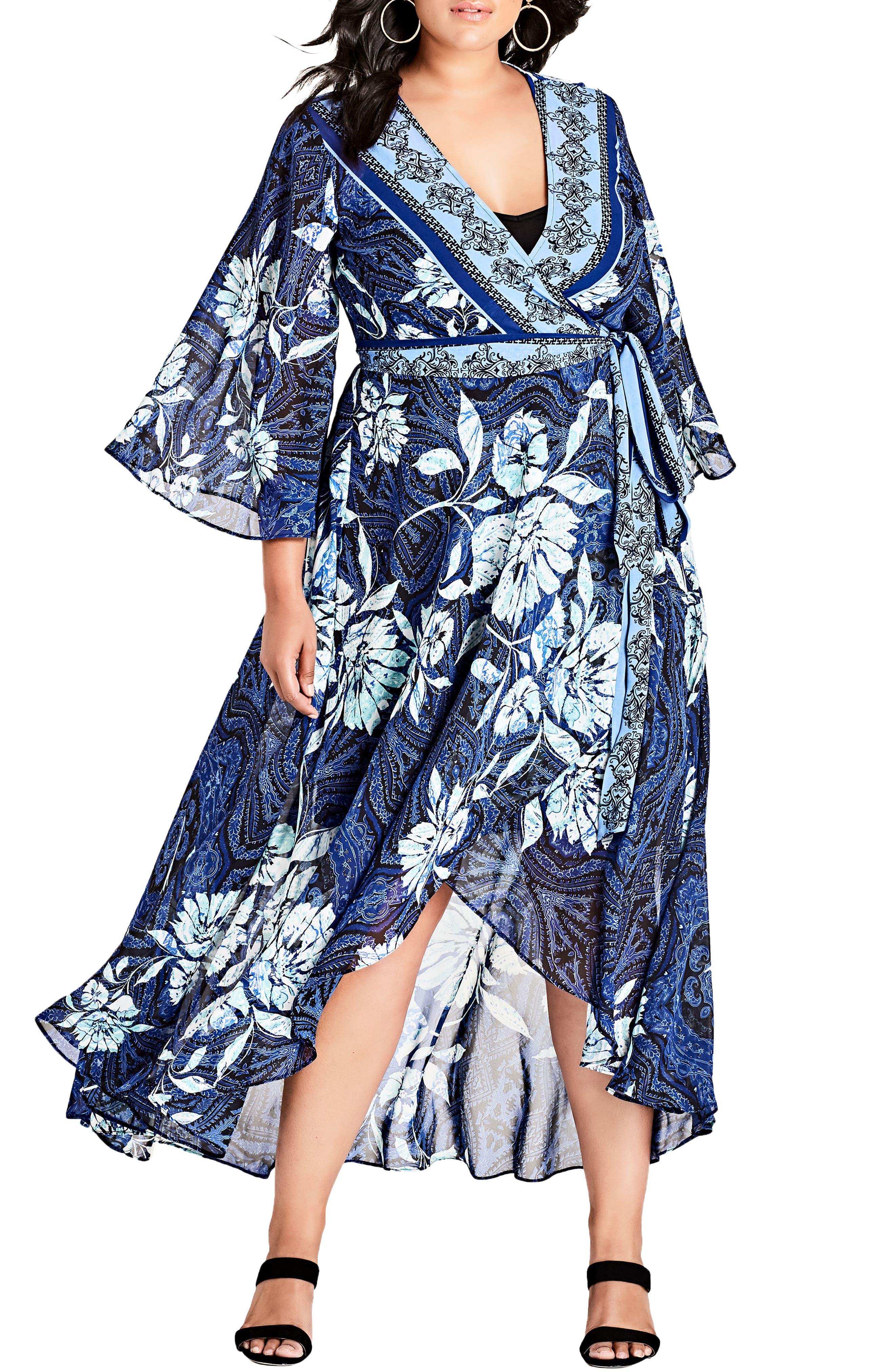 Blue Illusion High/Low Wrap Dress,                             Alternate thumbnail 4, color,                             BLUE ILLUSION