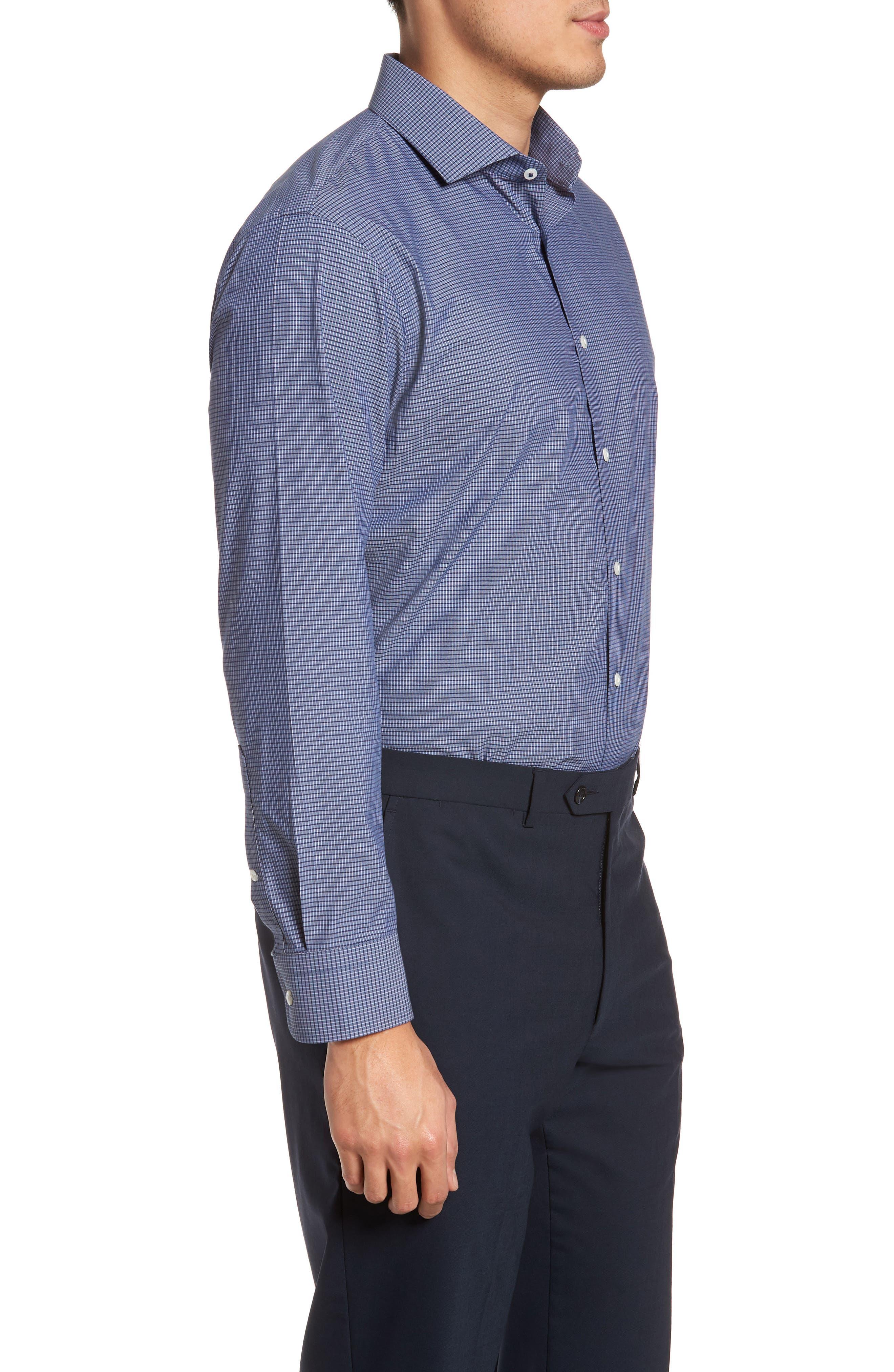 Tech-Smart Trim Fit Stretch Check Dress Shirt,                             Alternate thumbnail 4, color,                             410