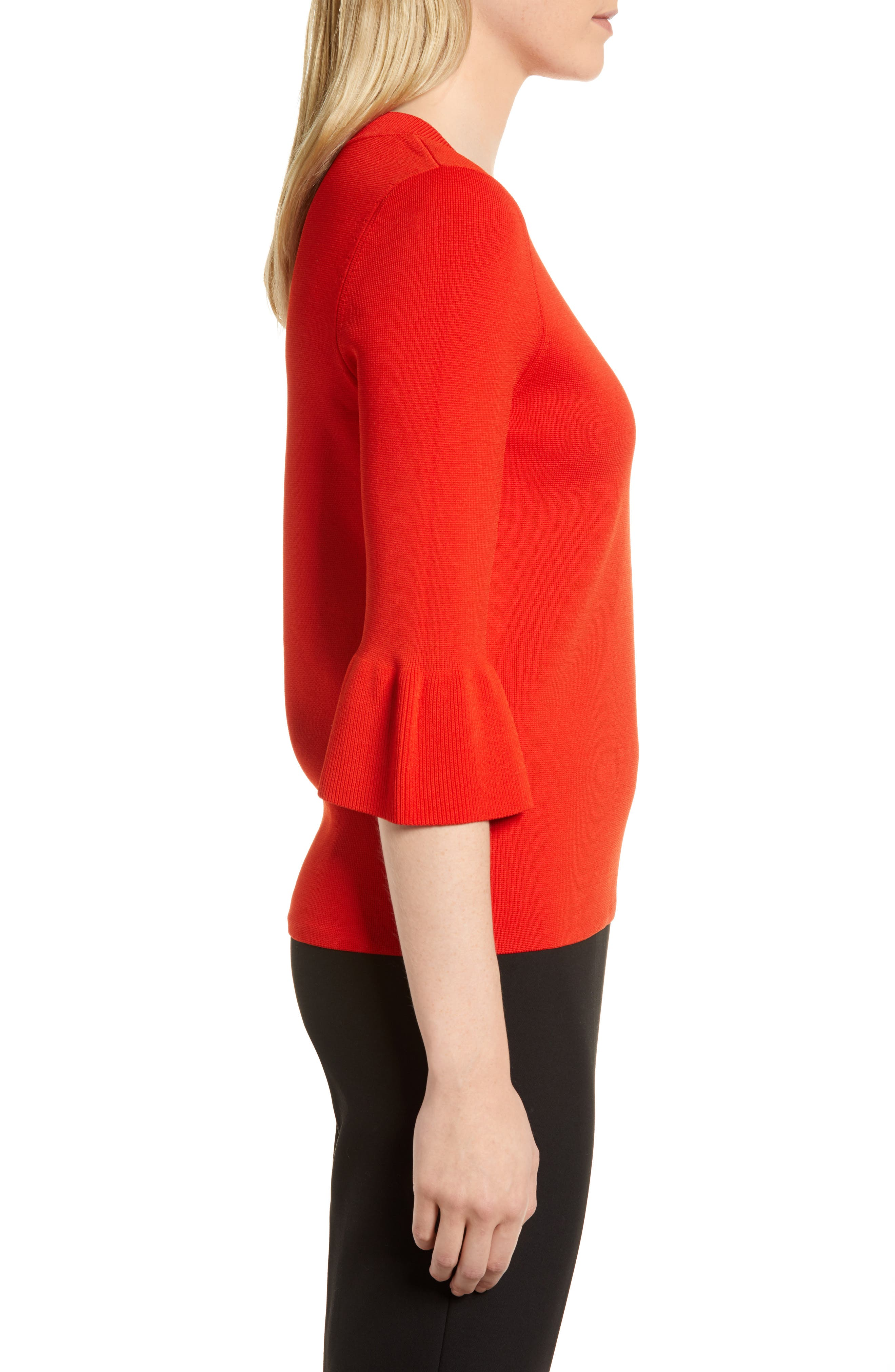 Fenella Ruffle Sleeve Sweater,                             Alternate thumbnail 6, color,