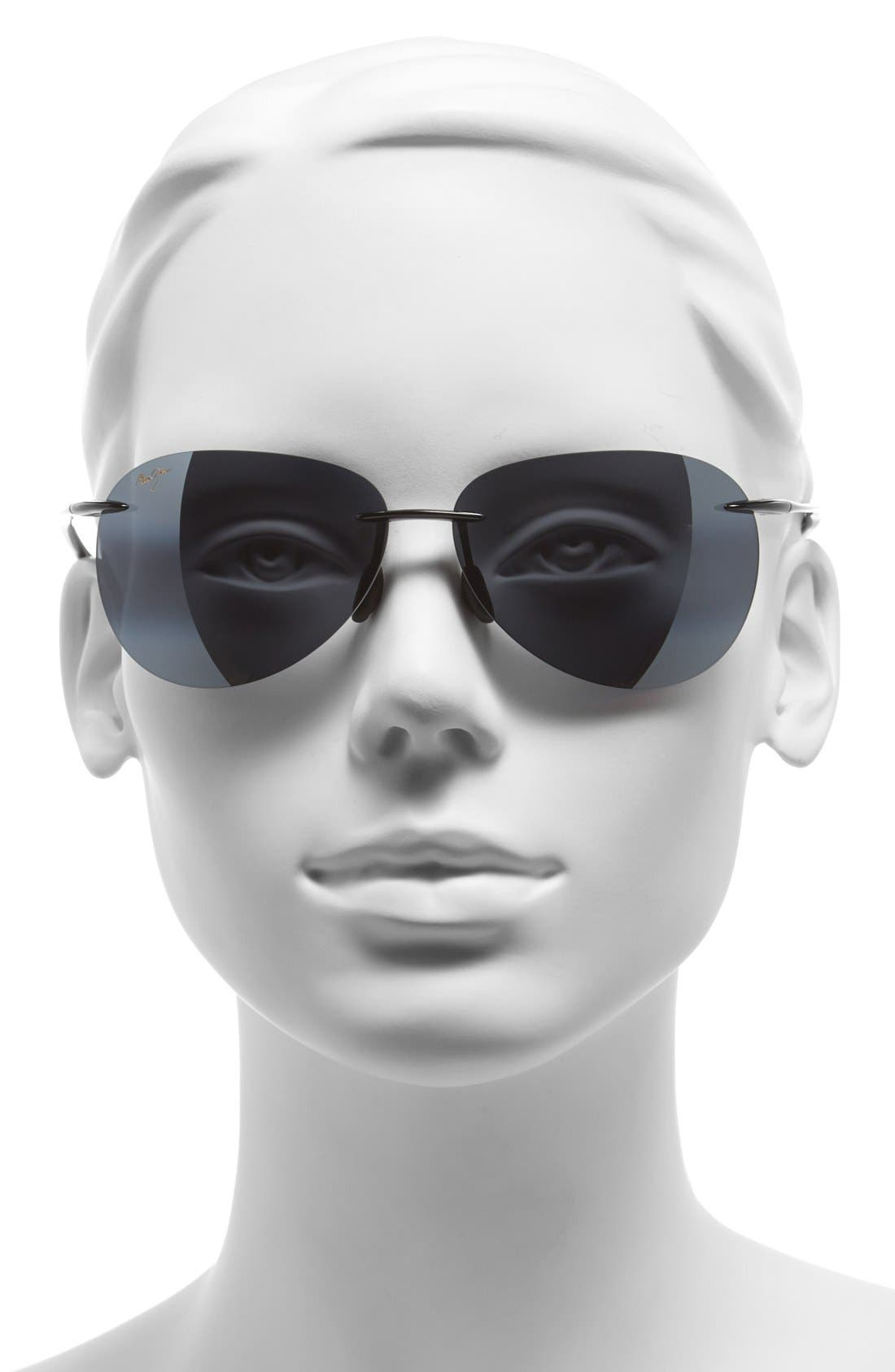 Sugar Beach 62mm PolarizedPlus2<sup>®</sup> Rimless Sunglasses,                             Alternate thumbnail 2, color,                             GLOSS BLACK/ NEUTRAL GREY