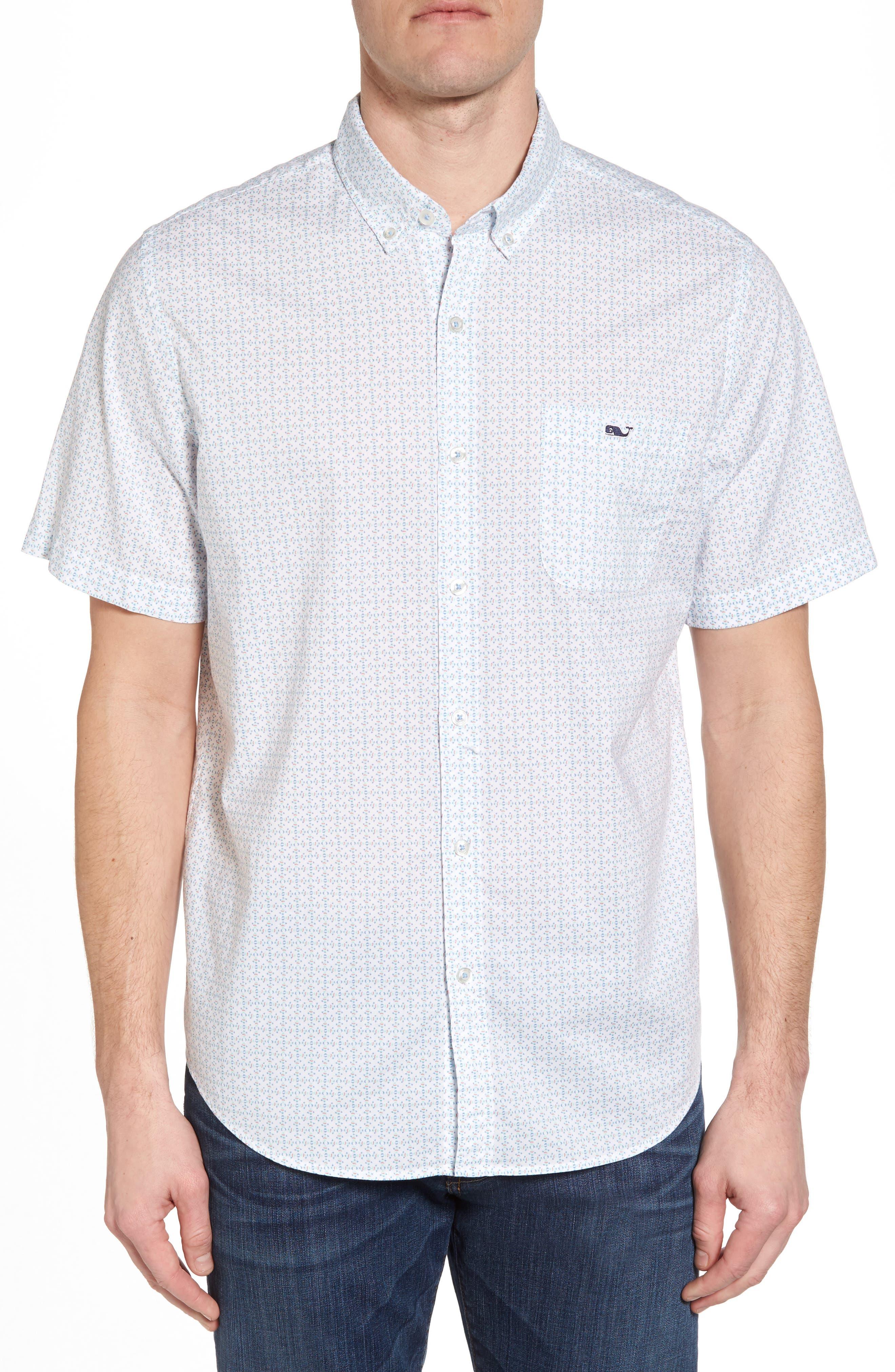 Fish Check Tucker Slim Fit Sport Shirt,                         Main,                         color, 100