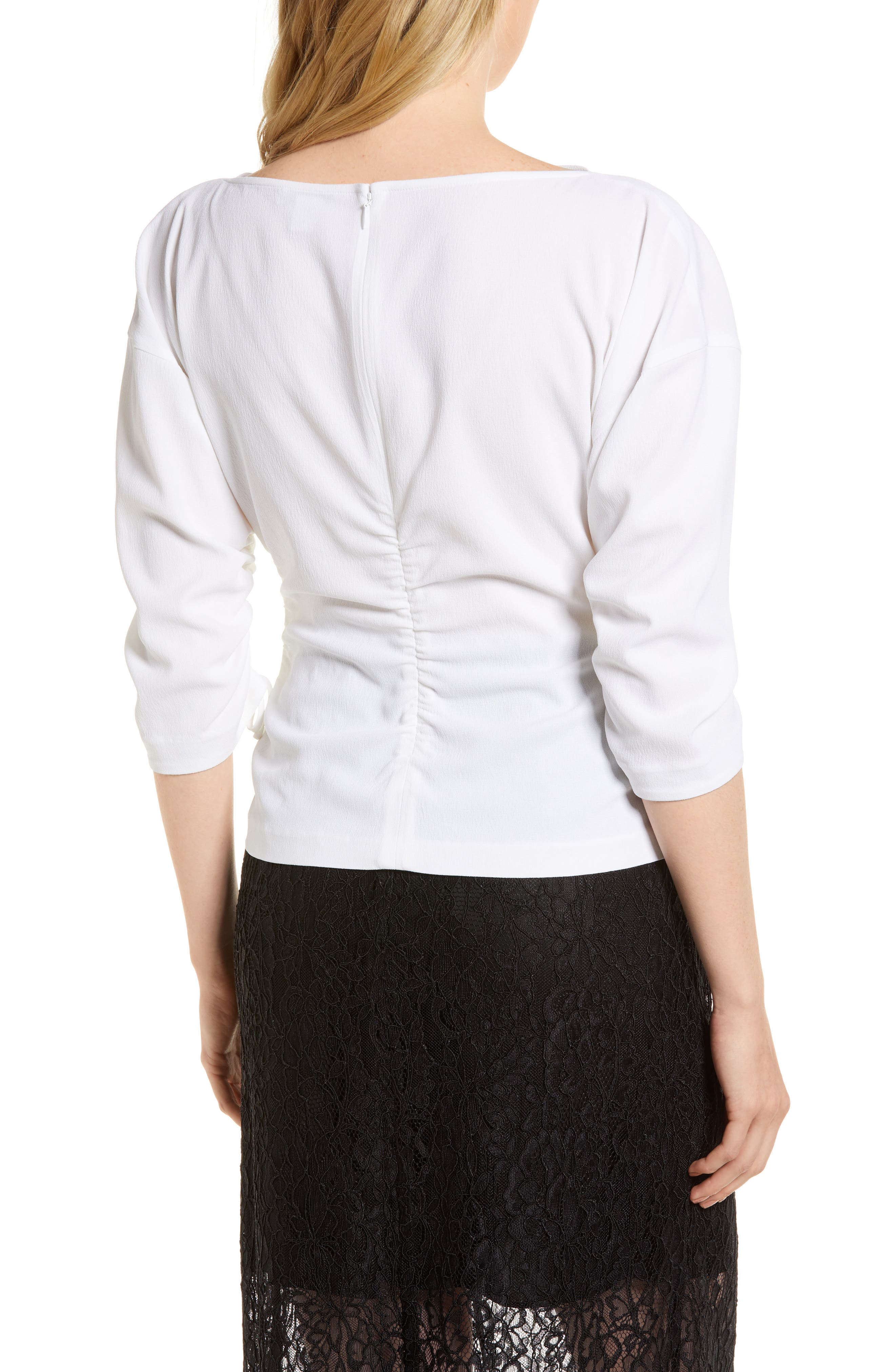 Ruched Crepe Top,                             Alternate thumbnail 2, color,                             100