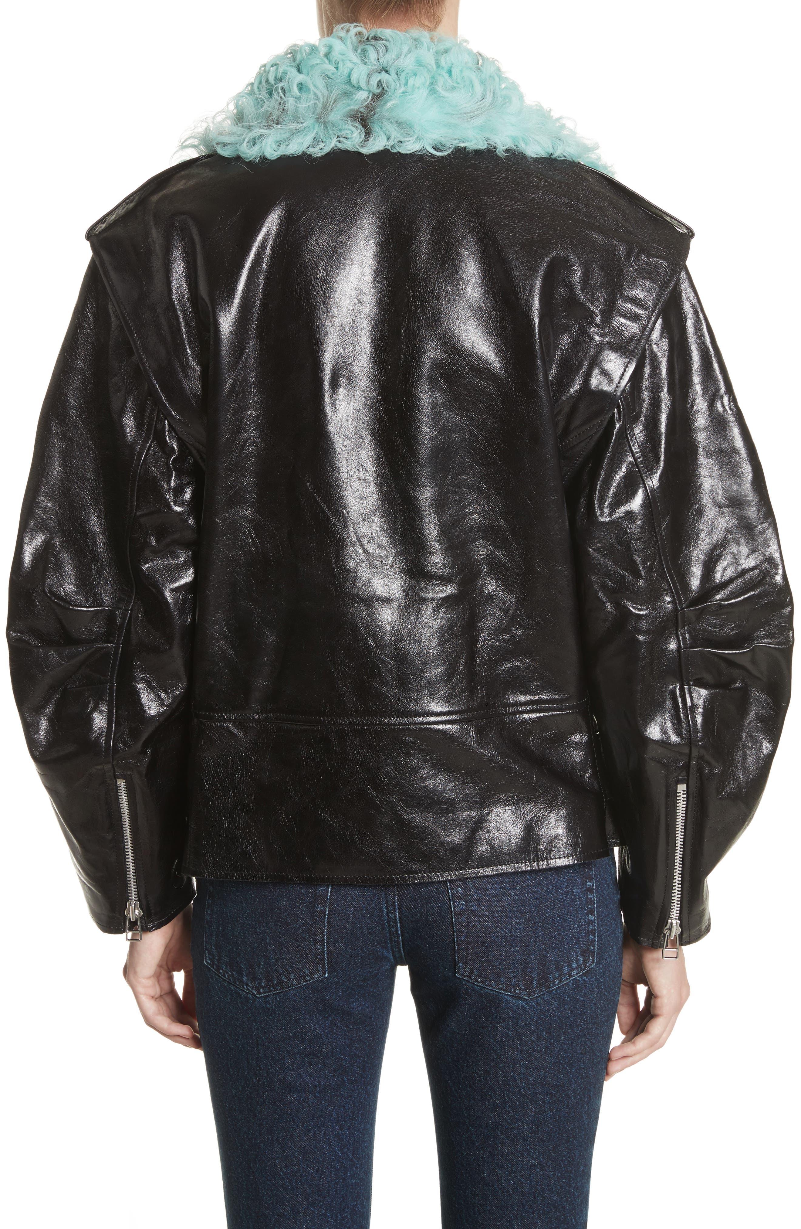 Marques'Almeida Detachable Sleeve Biker Jacket with Genuine Shearling Trim,                             Alternate thumbnail 2, color,                             003