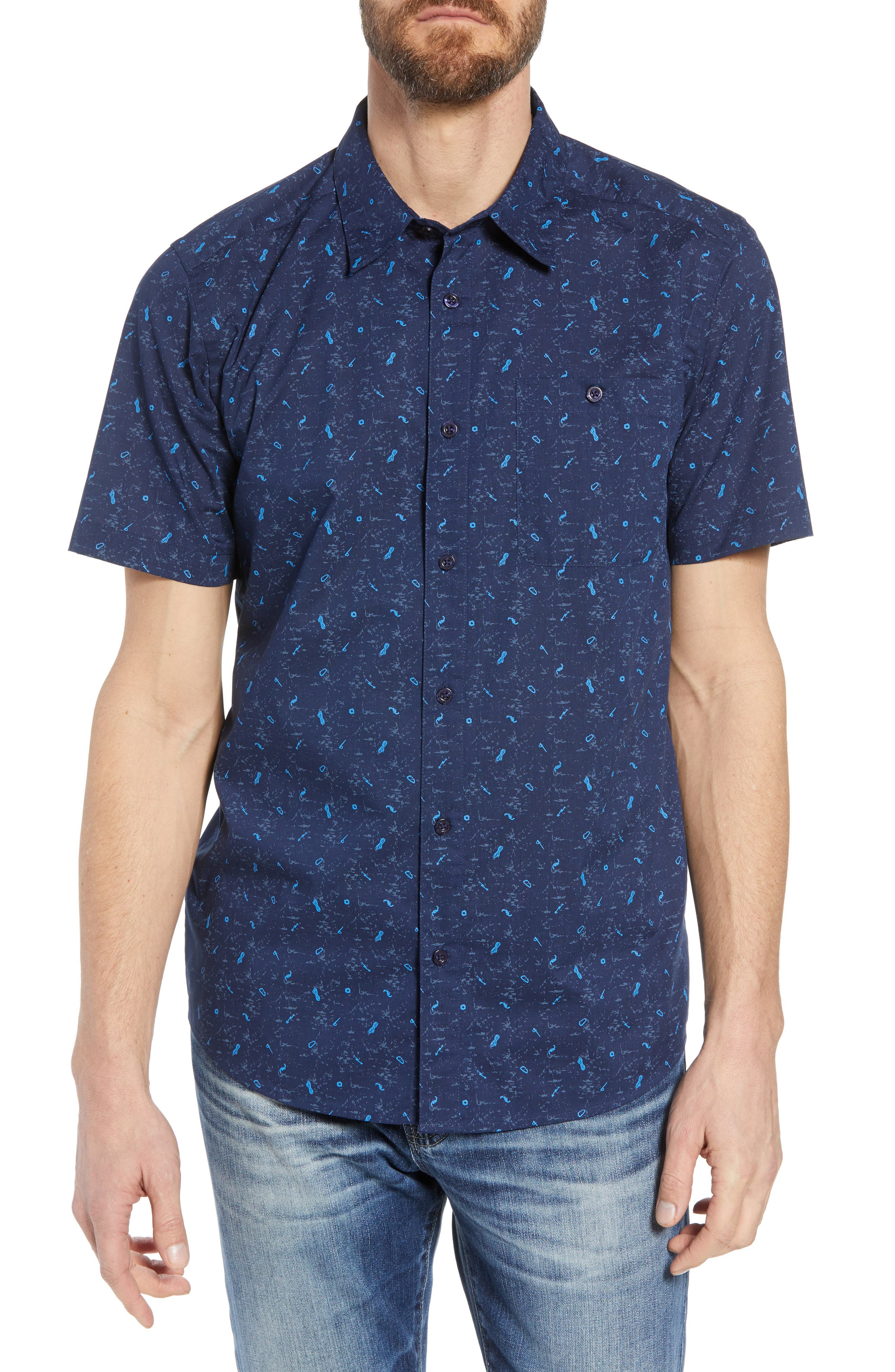 'Go To' Slim Fit Short Sleeve Sport Shirt,                         Main,                         color, ROCKWALL/ CLASSIC NAVY