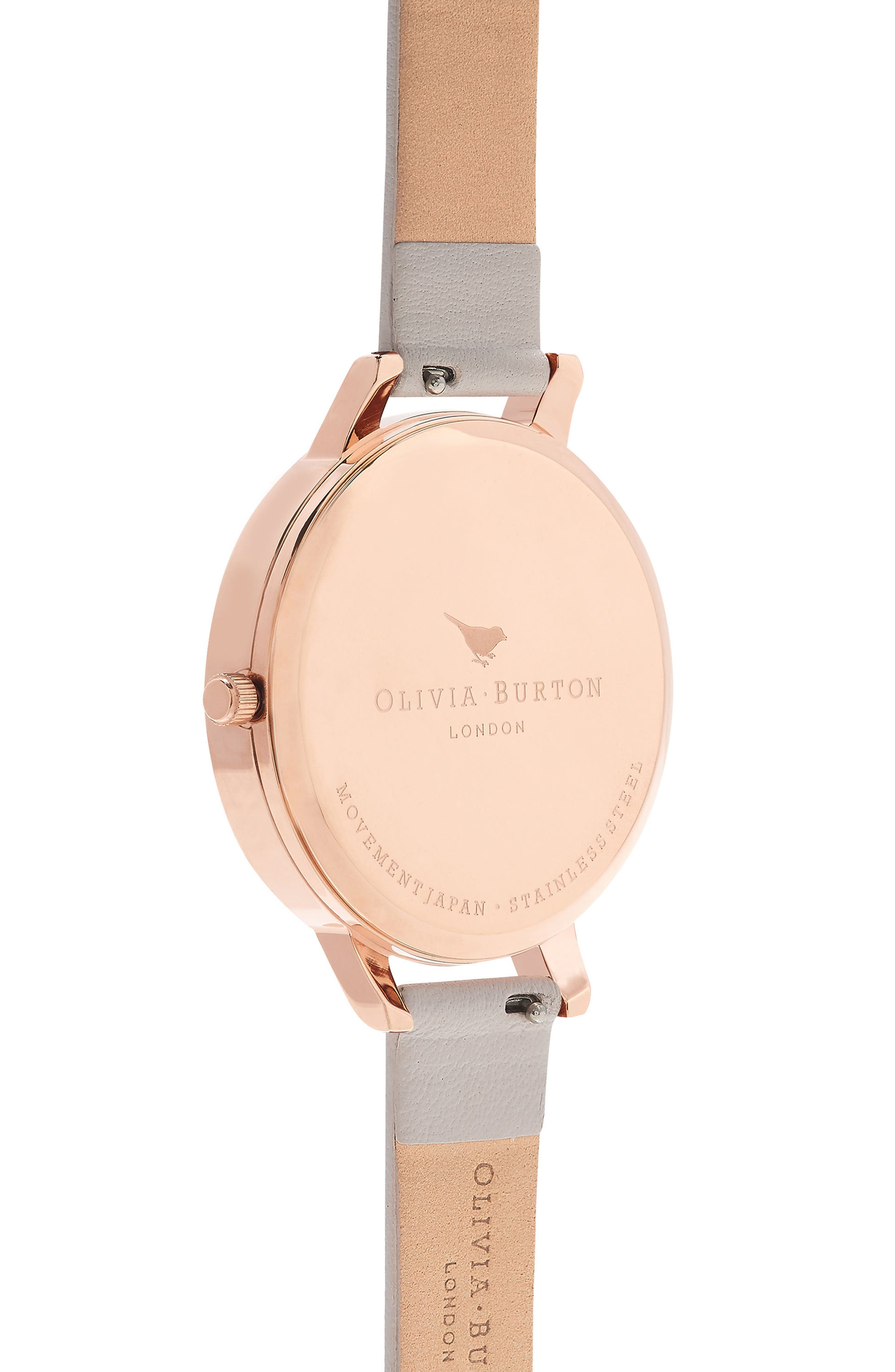 Watercolour Florals Leather Strap Watch, 38mm,                             Alternate thumbnail 3, color,                             BLUSH/ FLORAL/ ROSE GOLD