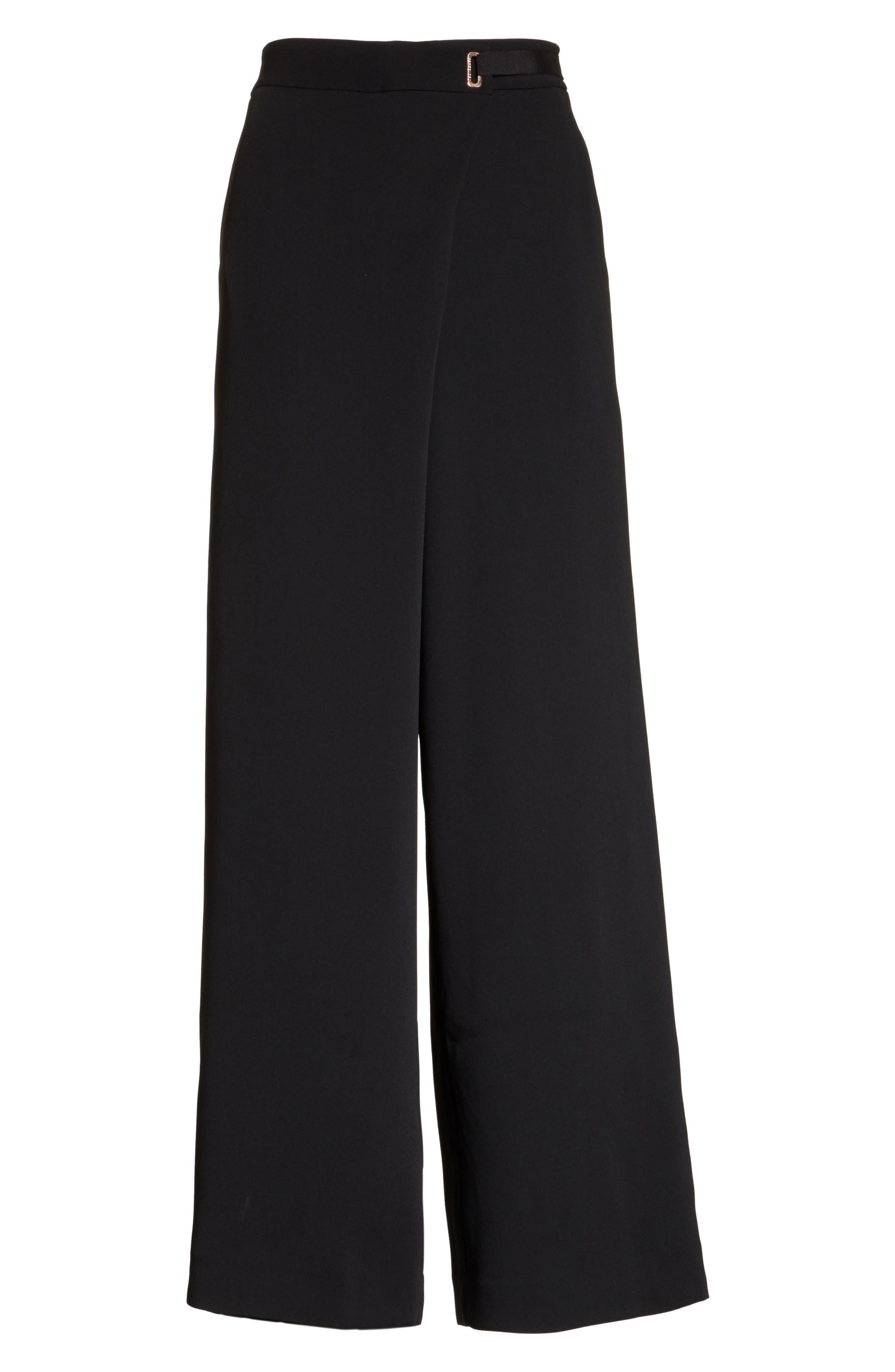 Yasin Wide Leg Wrap Front Trousers,                             Alternate thumbnail 6, color,                             001